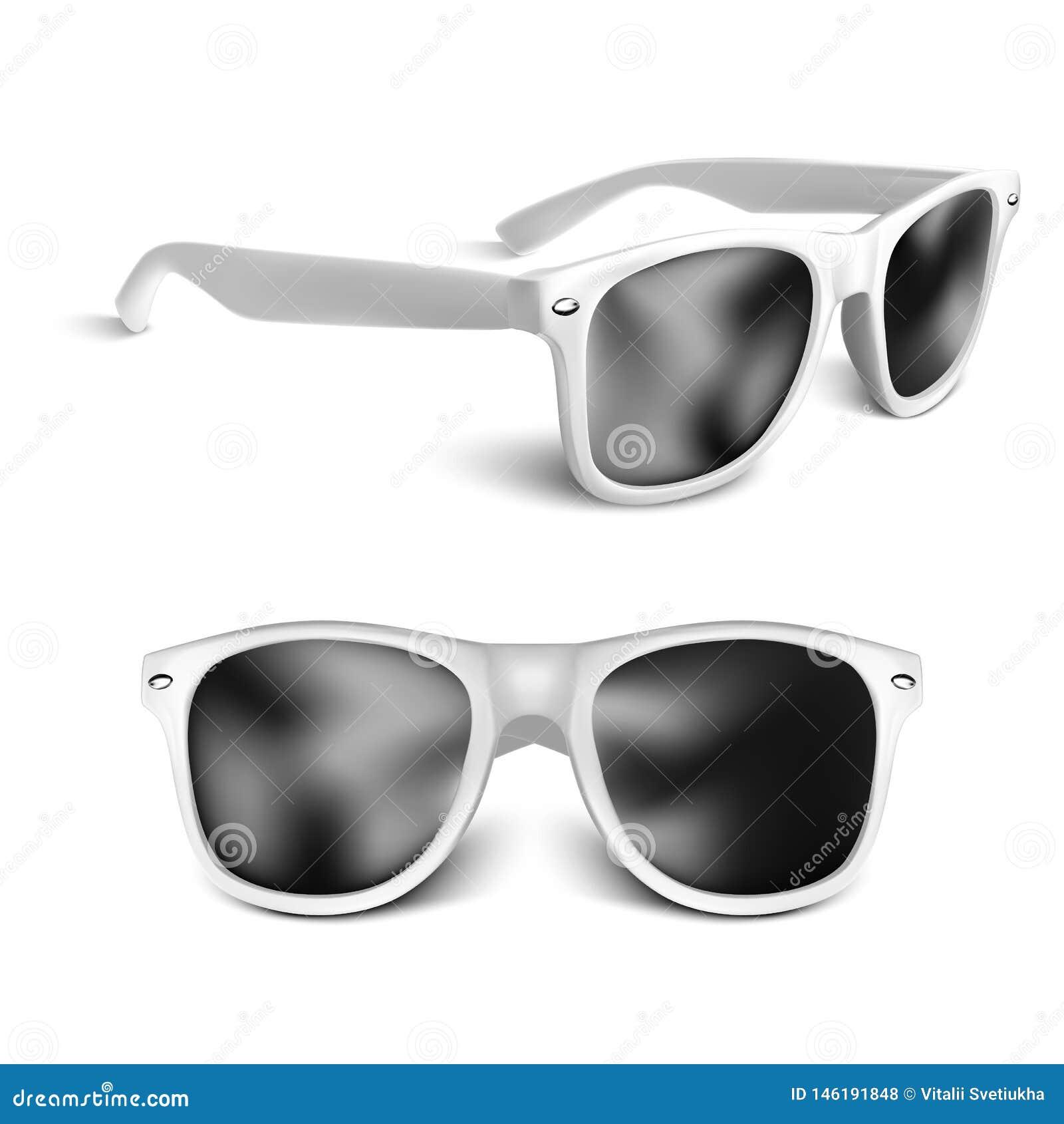 Realistische weiße Sonnenbrillen lokalisiert auf weißem Hintergrund Auch im corel abgehobenen Betrag