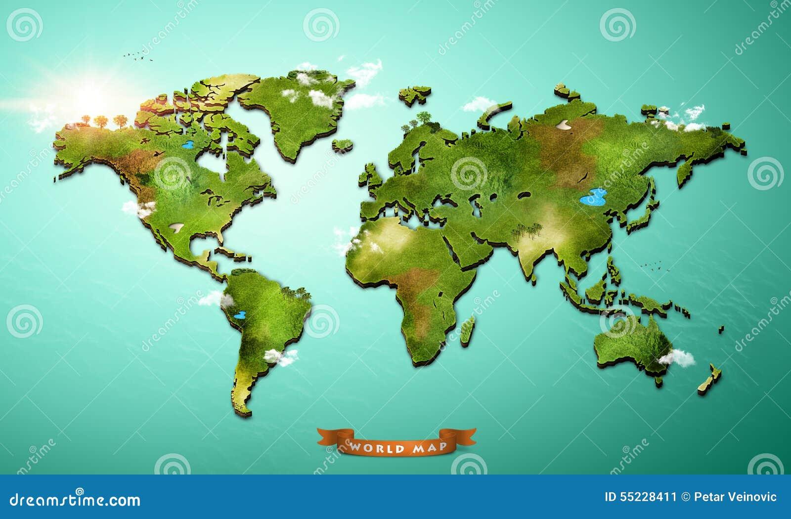 realistische weltkarte Realistische Weltkarte 3D stock abbildung. Illustration von europa  realistische weltkarte