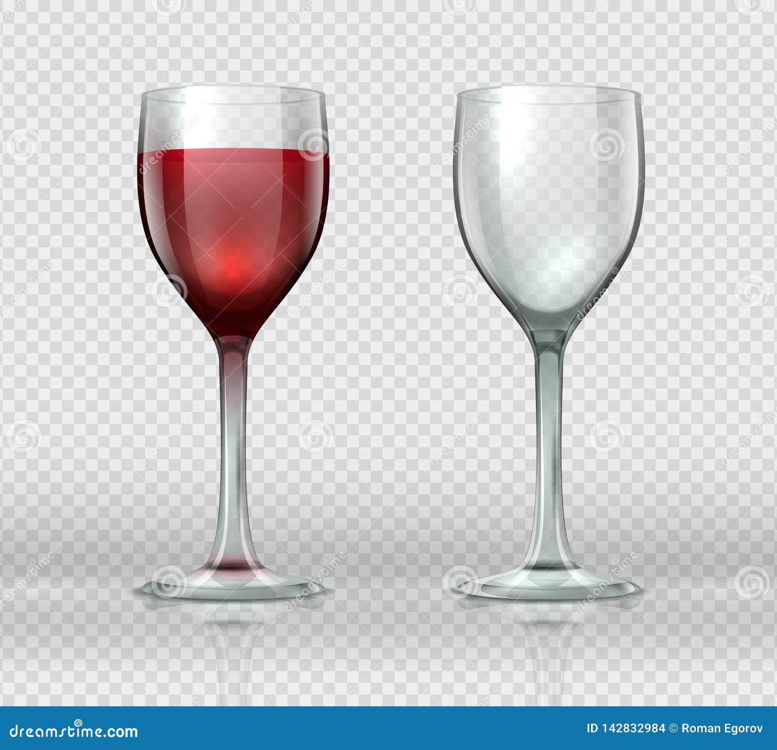 Realistische wijnglazen Transparant geïsoleerd wijnglas met rode wijn, 3D lege glaskop voor cocktails Vectorwijnmakerij