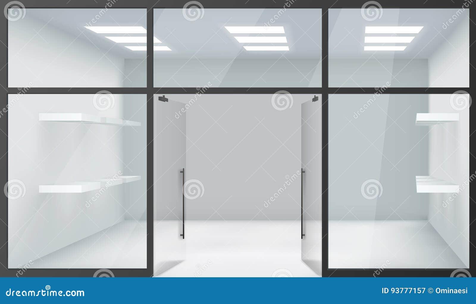 Türen shop  Realistische Windows Raum-offene Türen Shop-legt Leere Innen-Front ...