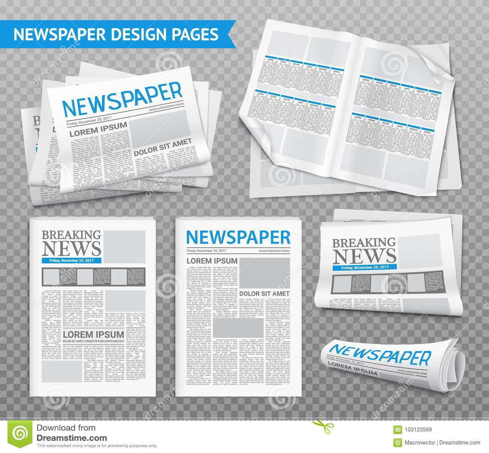 Realistische Zeitungs-transparenter Satz