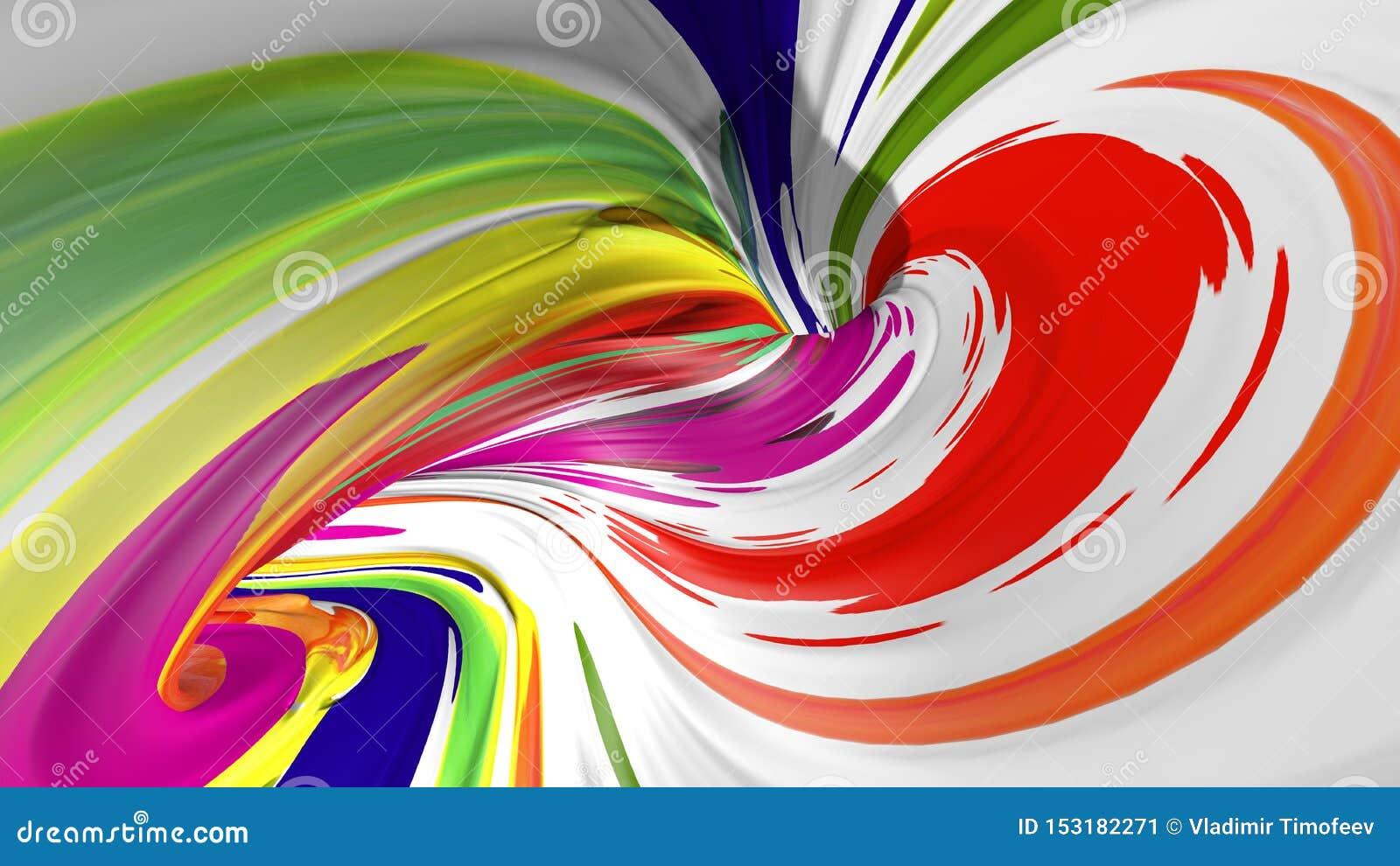 Realistischer Anschlag der B?rste 3d Abstrakter digitaler Farbfarbenhintergrund Moderner bunter Fluss Kreative klare Flüssigkeit