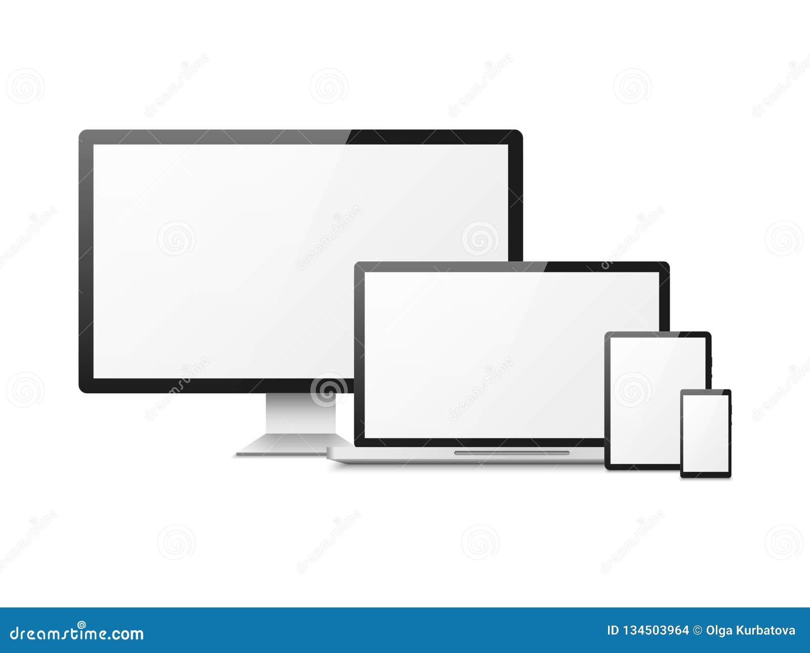 Realistischer Computer Gerätlaptoptablettentelefon Smartphonemonitor, Computertischplattenschirm, entgegenkommender Netzplan