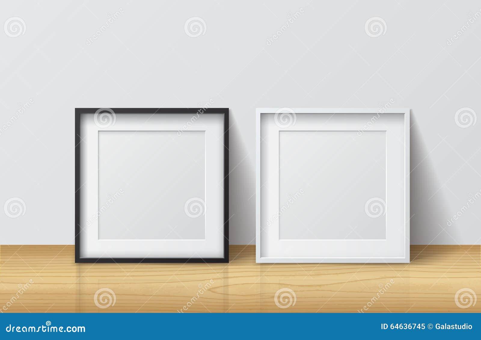Realistischer Weißer Und Schwarzer Leerer Quadratischer Bilderrahmen ...