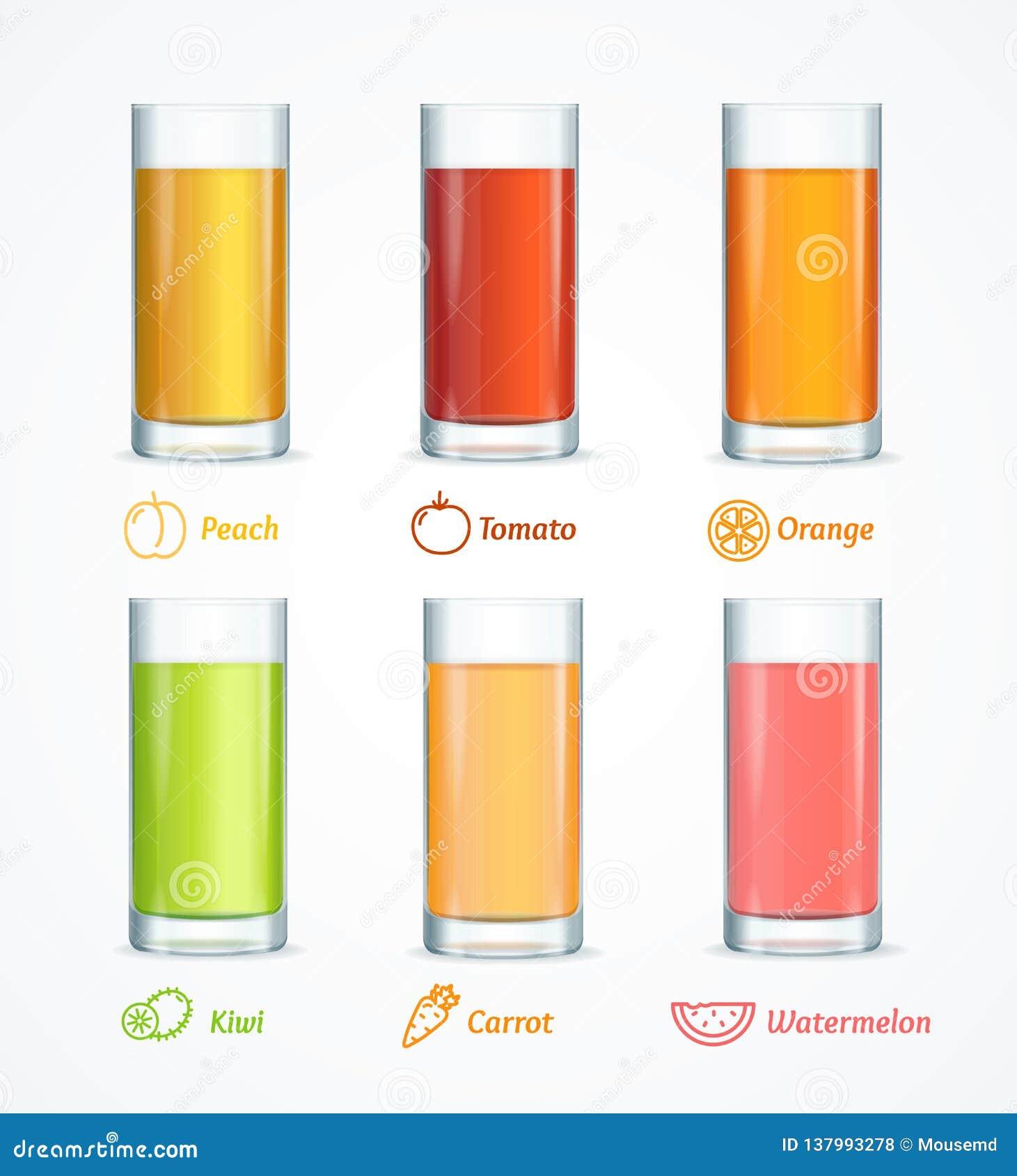 Realistisches ausführliches 3d unterschiedlicher Juice Glass Set Vektor