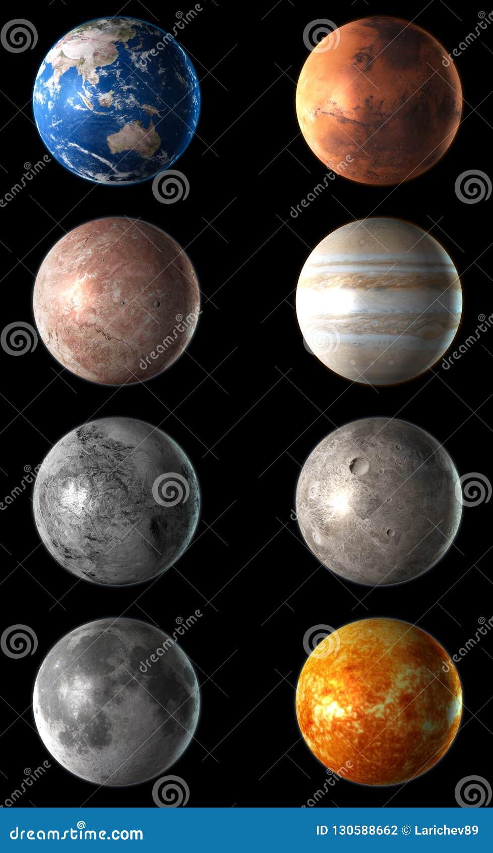 Realistisches 3D führte den Planeten einzeln auf, der auf schwarzen Hintergrund eingestellt wurde Abbildung 3D
