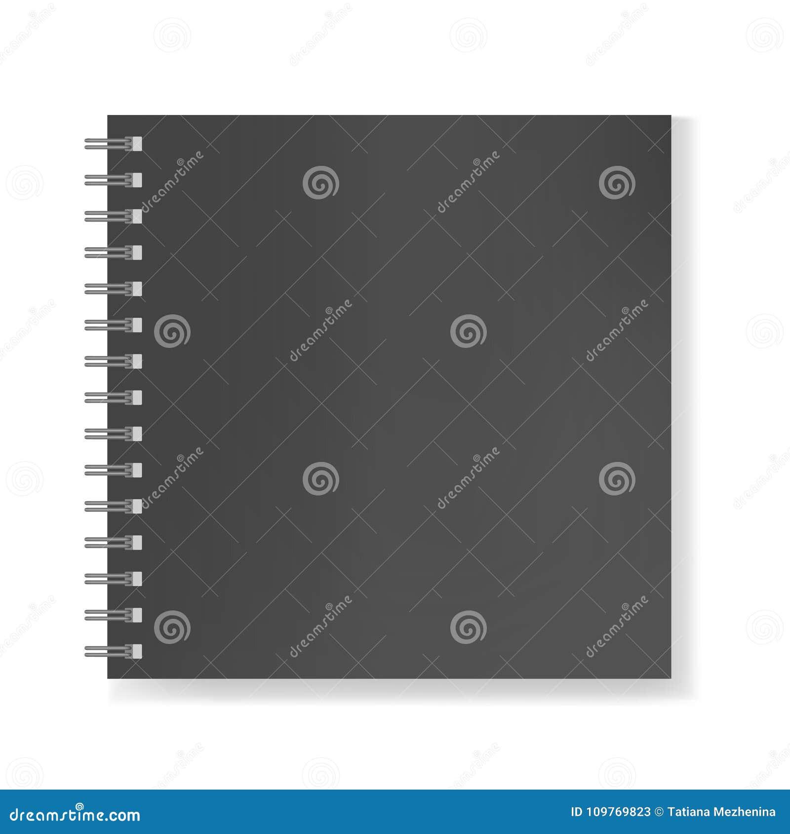 Realistisches Notizbuch des schwarzen Quadrats auf gewundenem Modell