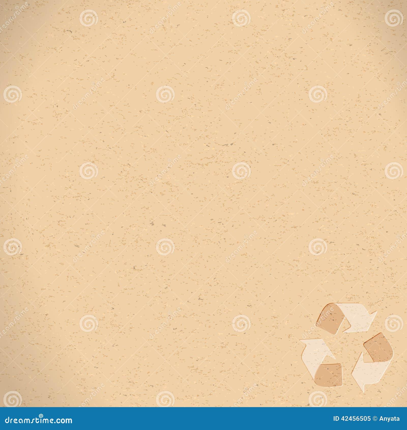 Realistisches Recyclingpapier mit der Wiederverwertung des Symbolkopienraumes