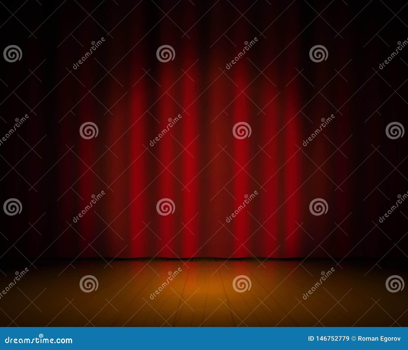 Realistisches Theaterstadium Rote Vorhänge und Scheinwerfer, Broadway-Showhintergrund, elegantes Kino drapieren Konzert des Vekto