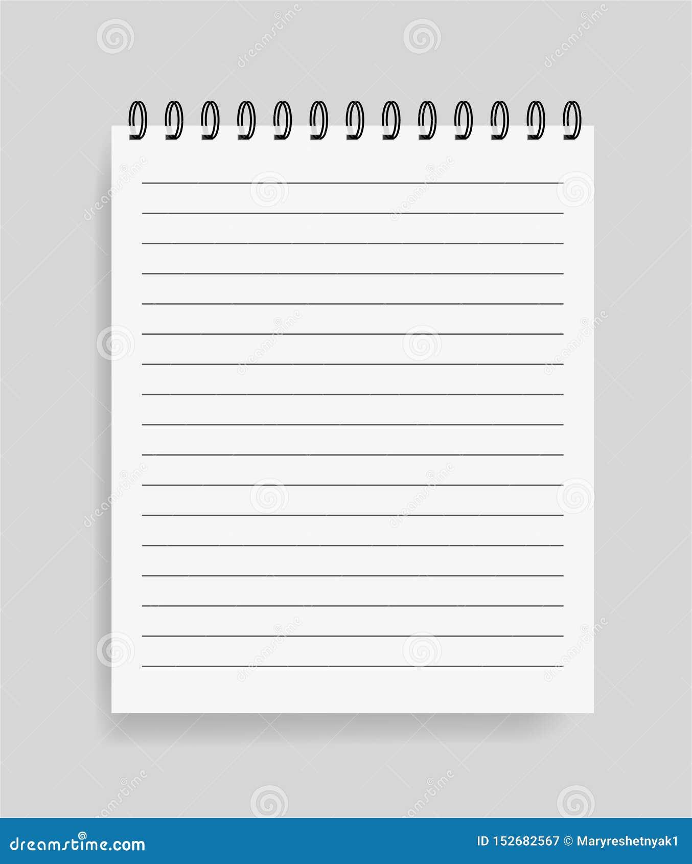 Realistisk anteckningsbok i modellstil Tom notepad med spiral Mall av den tomma notepaden med linjer eps10 blommar yellow f?r wal