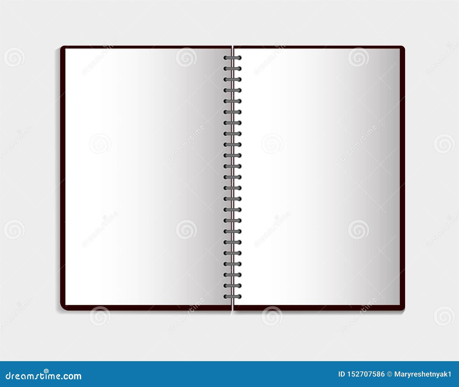 Realistisk anteckningsbok i modellstil Tom notepad med spiral Mall av den tomma notepaden på vit bakgrund eps10 blommar yellow f?