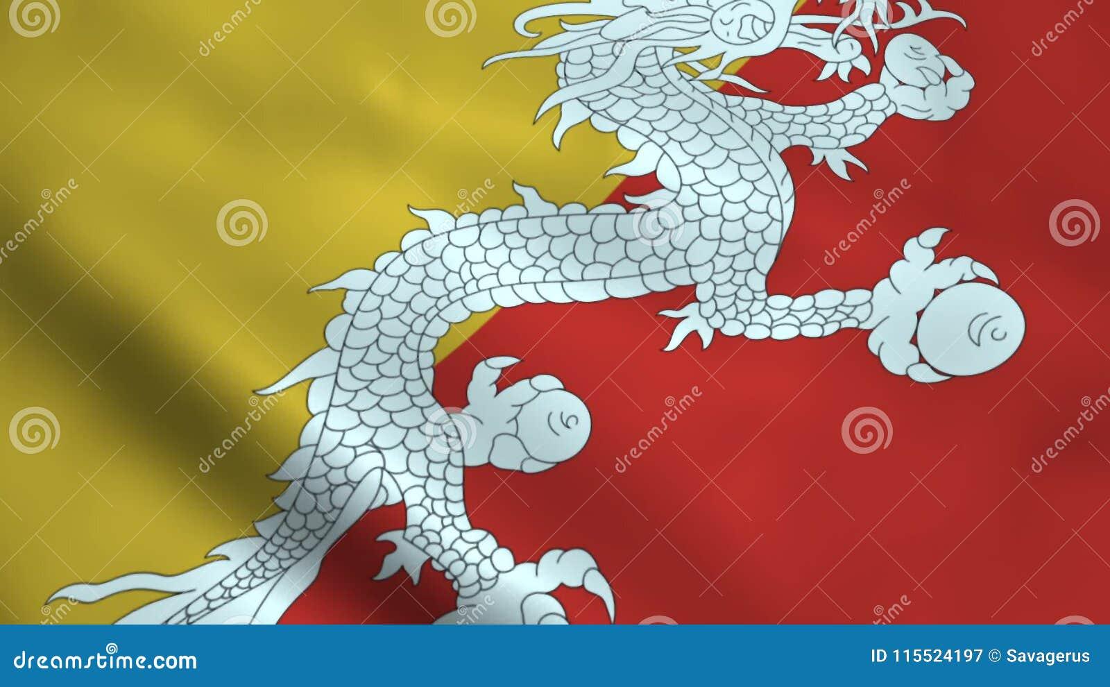 Realistisk Bhutan flagga