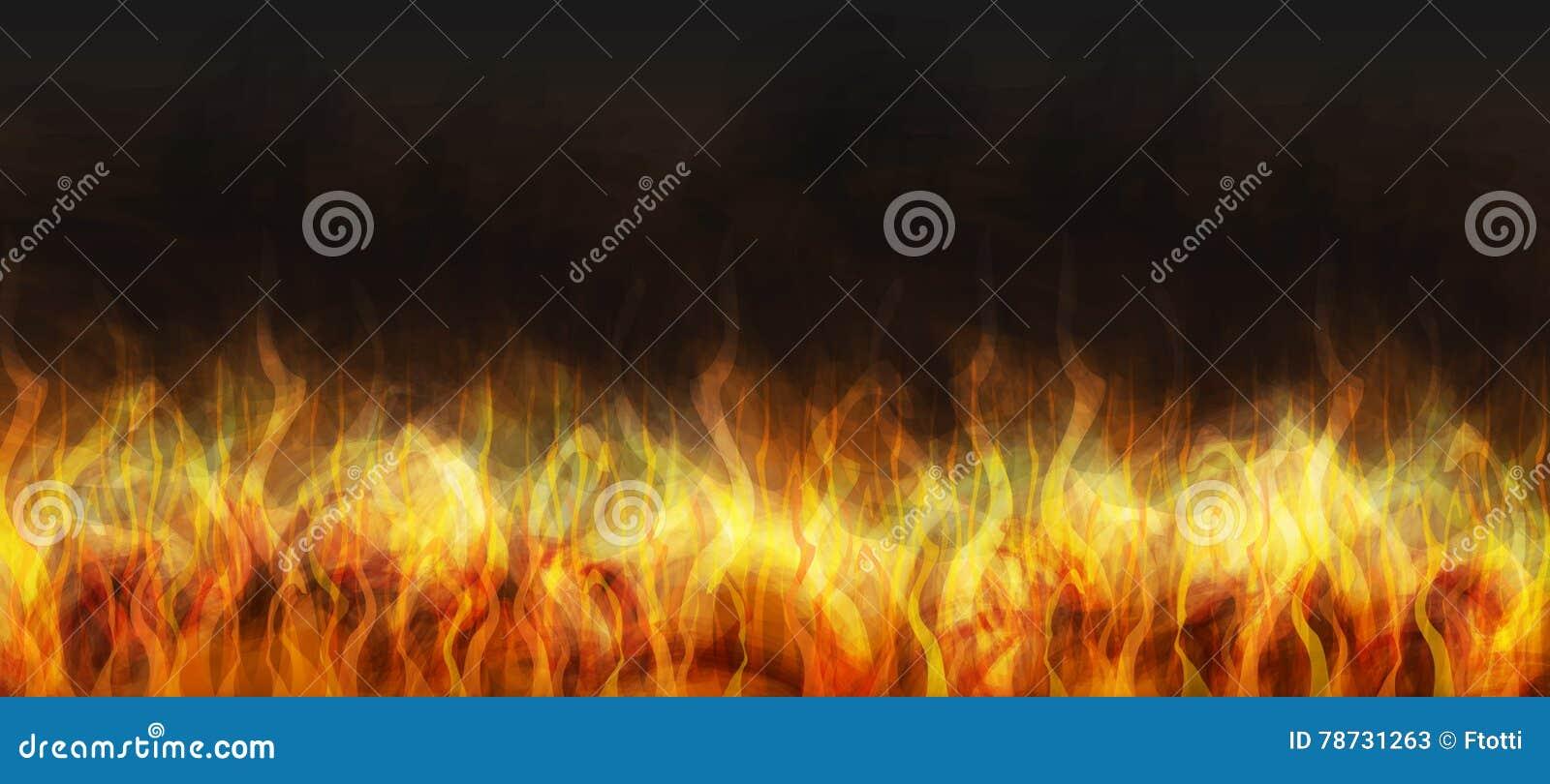 Realistisk brand på en mörk bakgrund