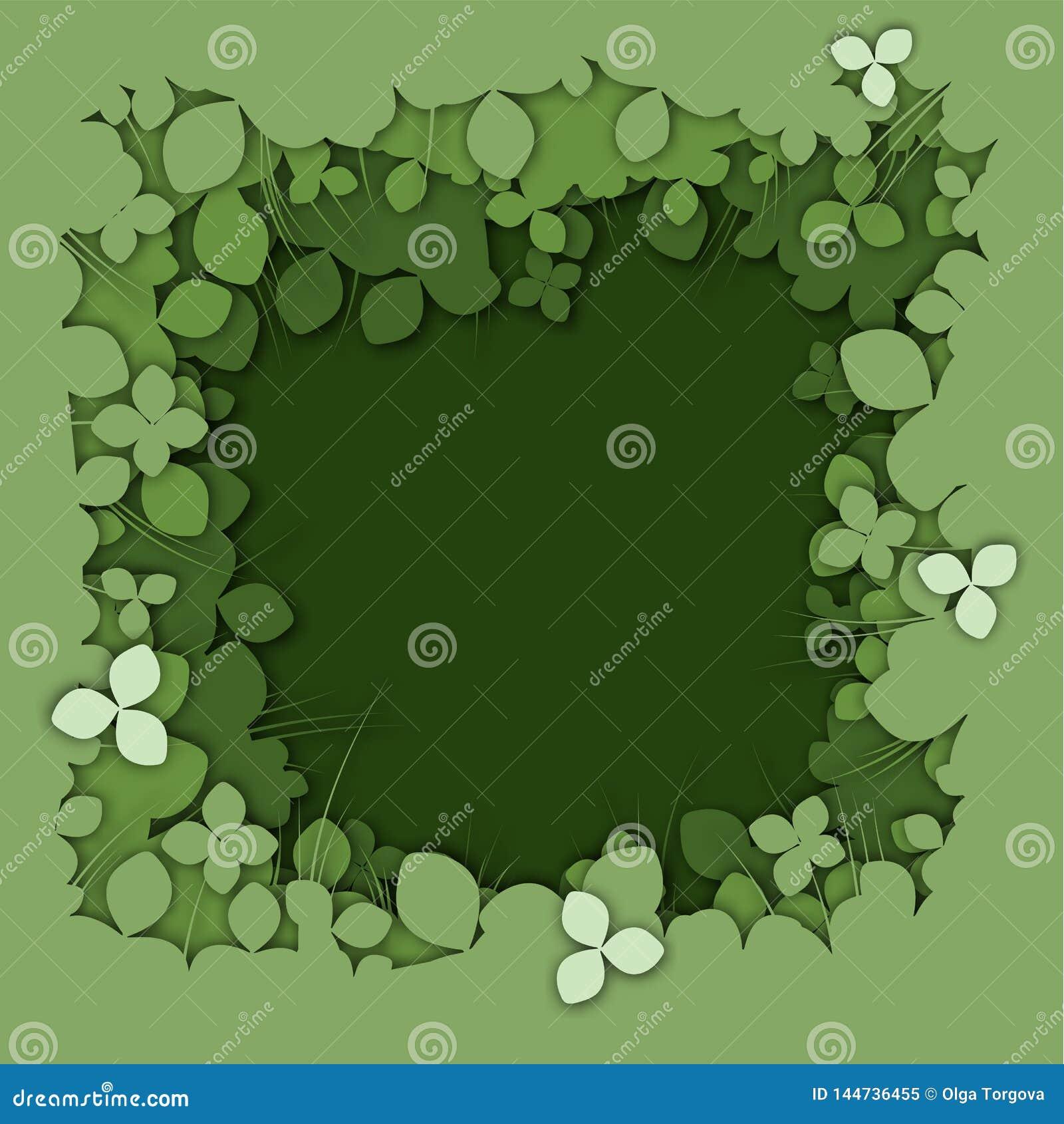 Realistisk grön bakgrund för växt av släktet Trifolium för lagerpapperssnitt
