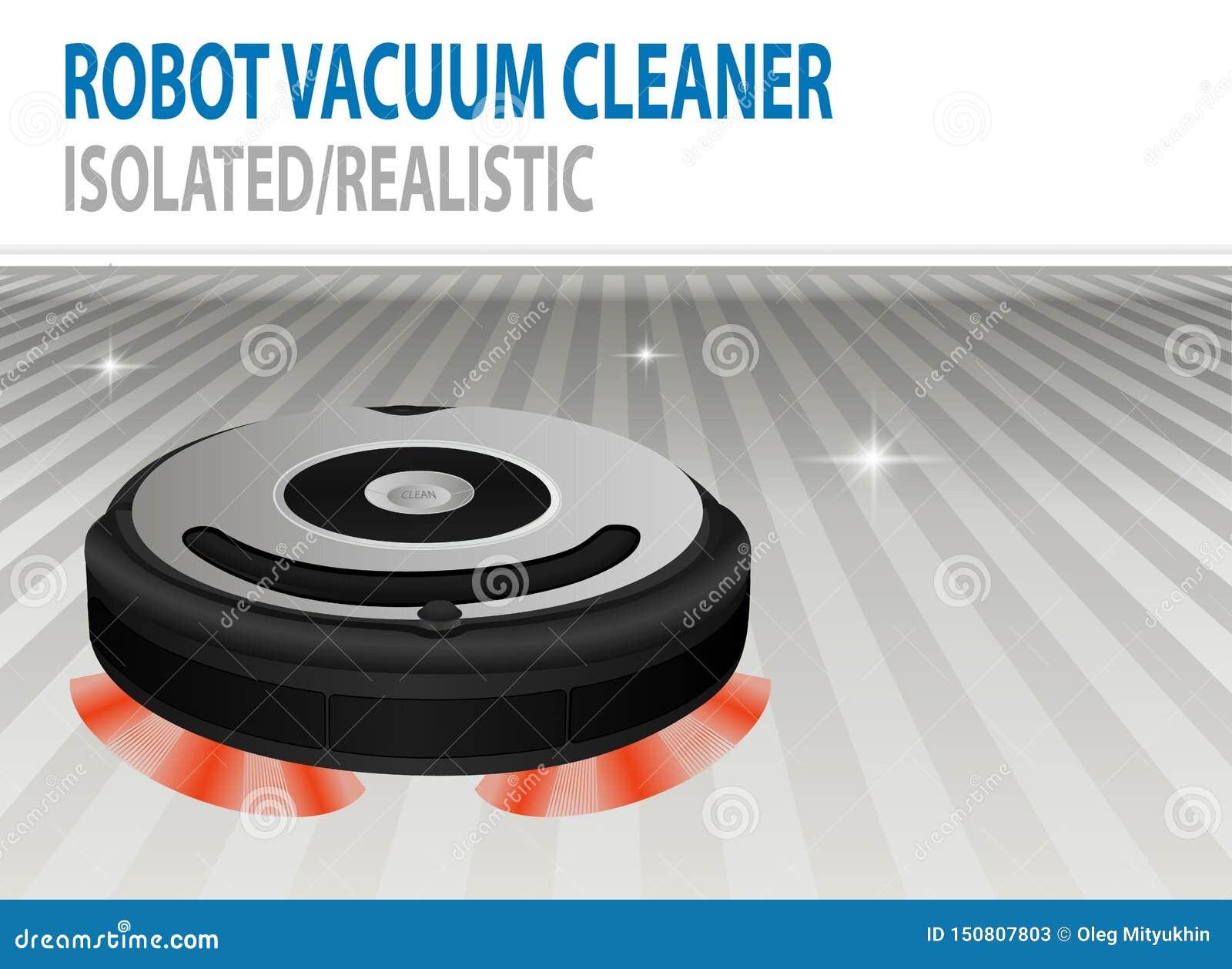 Realistisk illustration 3D av isolerad robotic dammsugare för vektor Smart reningsteknik Сlean rum