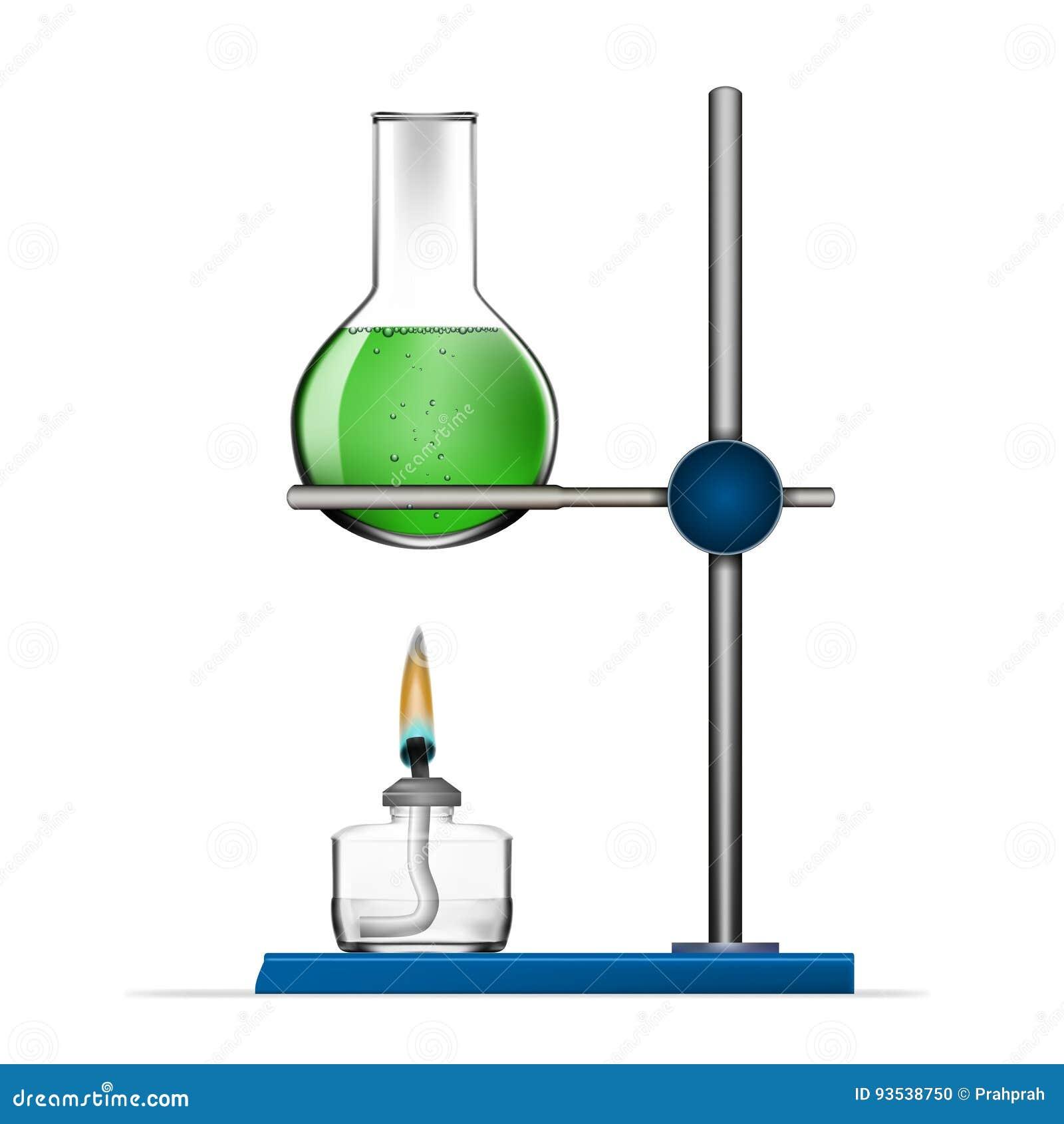 Realistisk kemisk uppsättning för laboratoriumutrustning Glass flaskor, dryckeskärlar, andelampor