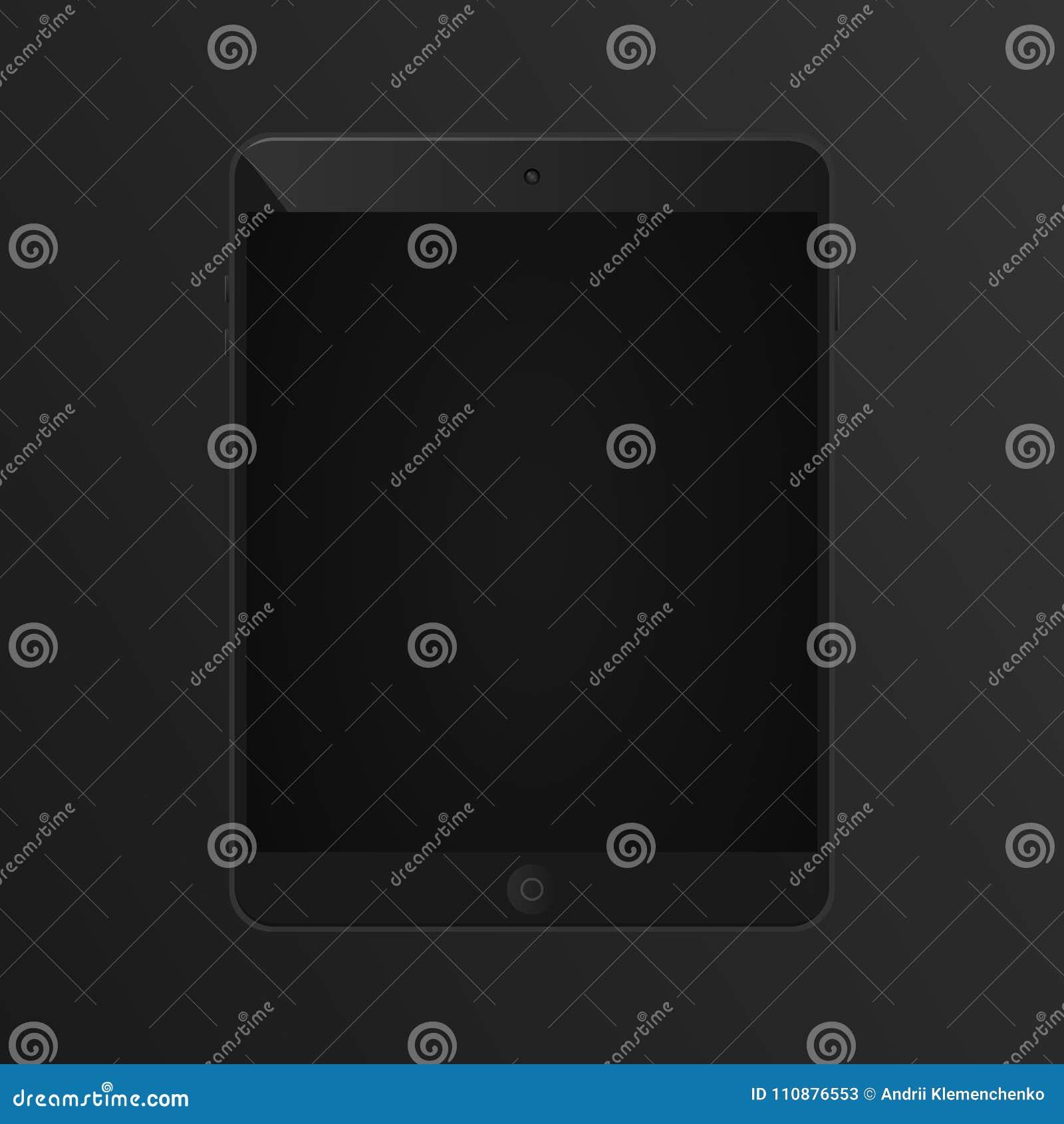 Realistisk minnestavla på en svart bakgrund Modern realistisk minnestavlaiPad också vektor för coreldrawillustration