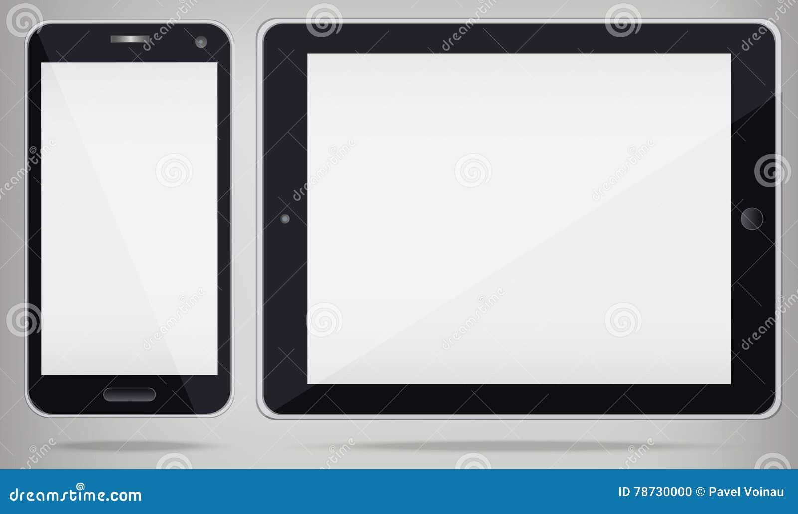 Realistisk minnestavlaPC och telefon med den vita skärmen vektor