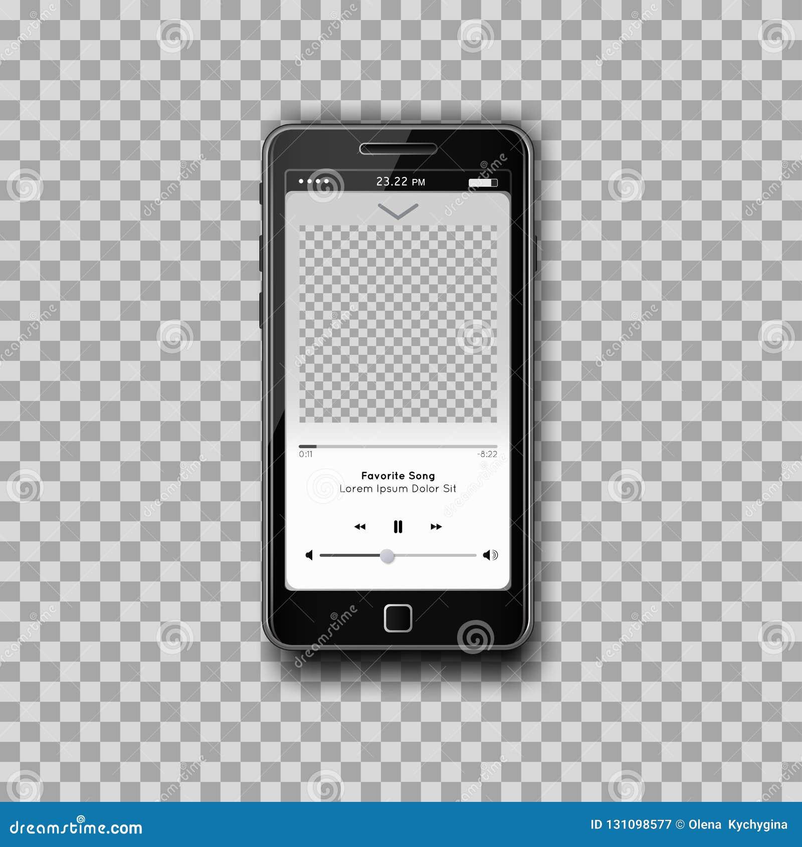Realistisk musikMp3-spelare på den svarta smartphonen med den tomma skärmen på genomskinlig bakgrund