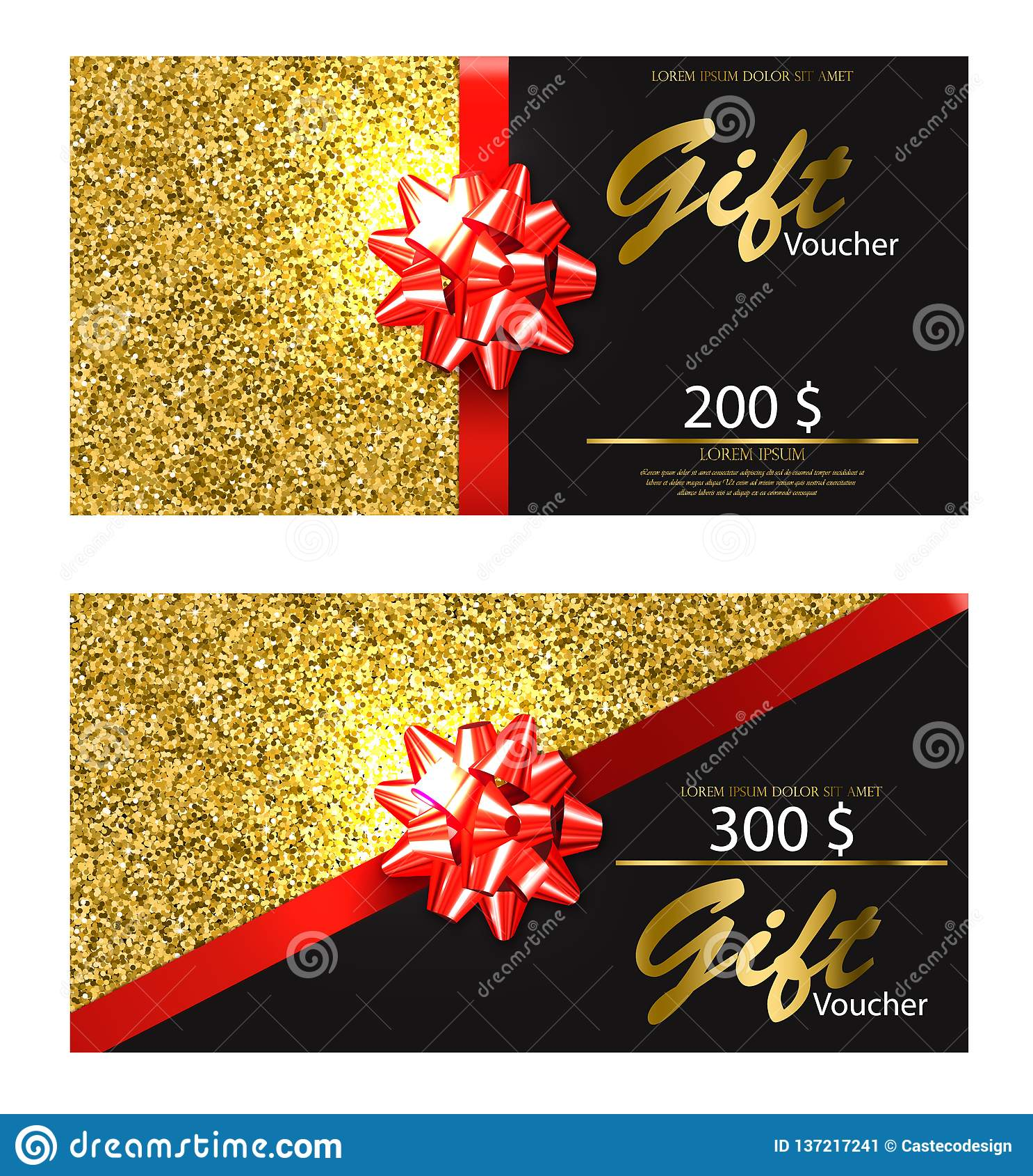Realistisk presentkortvektor Guld- blänka kortet med detaljerade illustrationer 3d för den röda pilbågen