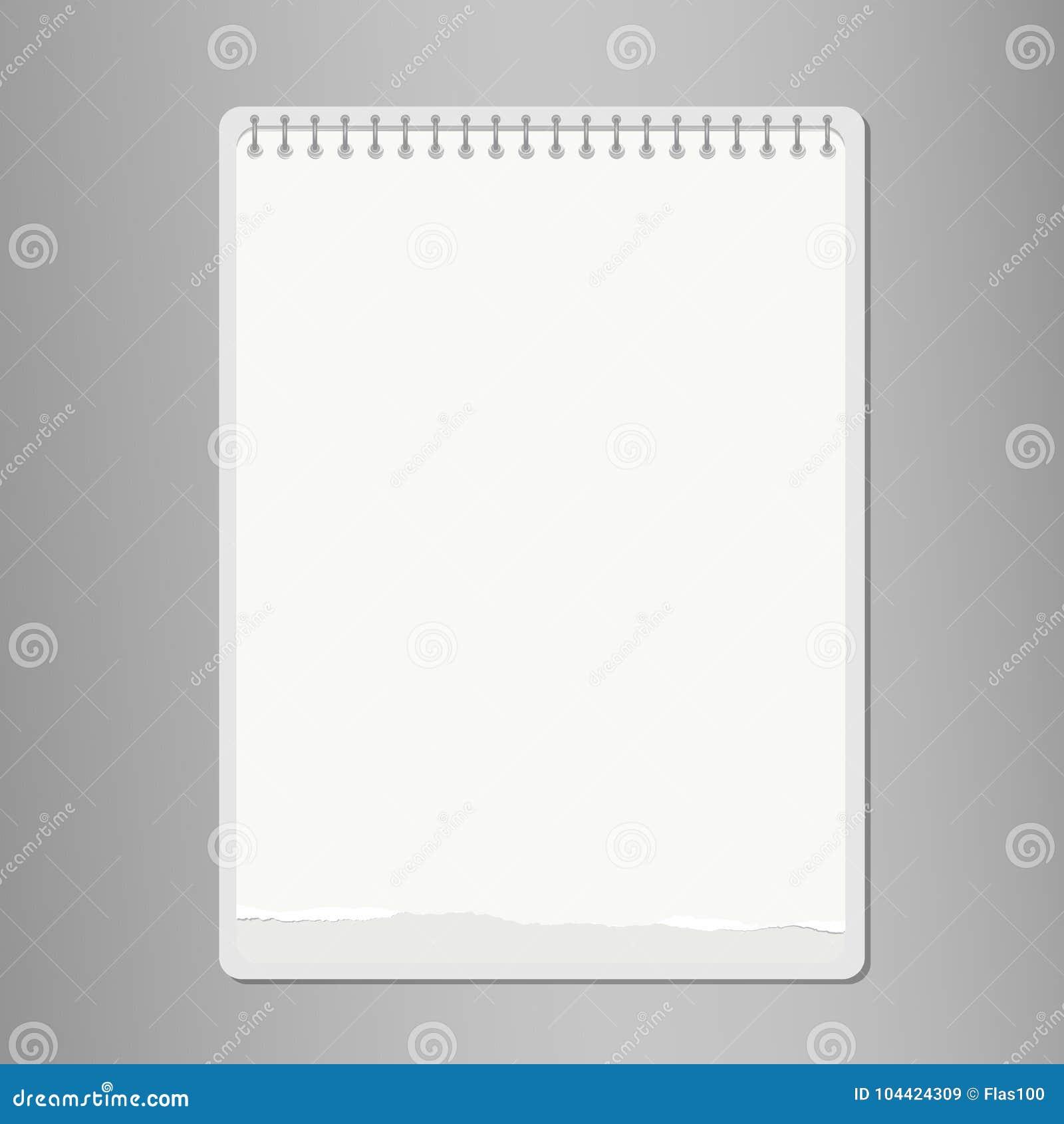 Realistisk riven sönder anteckningsbok, tomt vitbokark på grå bakgrund också vektor för coreldrawillustration