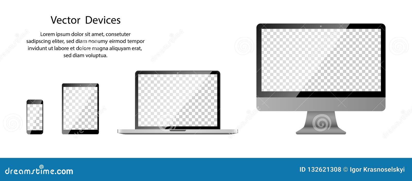 Realistisk telefon-, minnestavla-, bärbar dator- och datorbildskärm med den genomskinliga skärmen på tom bakgrund