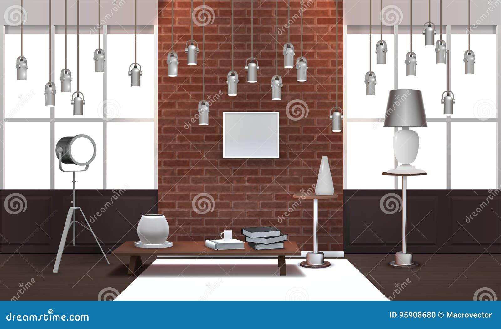 Realistisk vindinre med hängande lampor