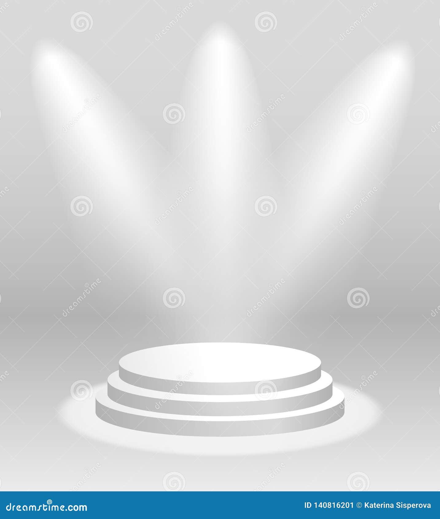 Realistisk vit podium eller sockel för vektor med strålkastare för ceremoni eller utställning