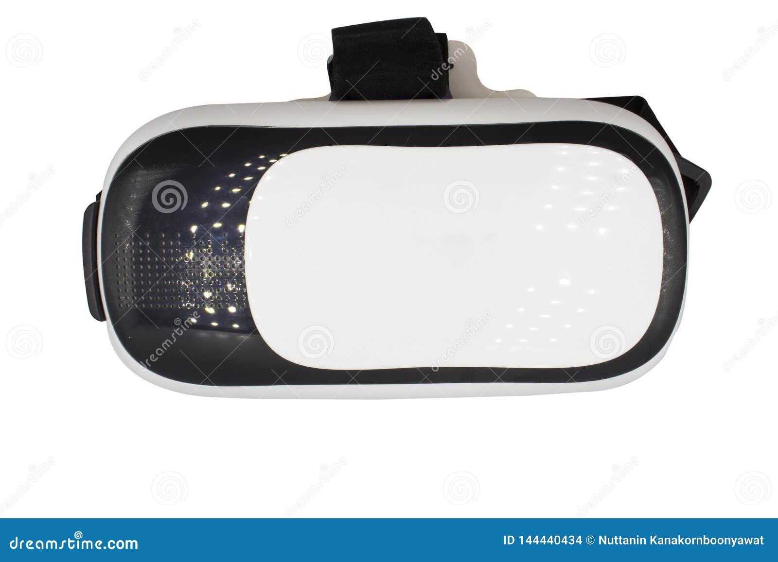 Realistisk VR-kamera, VR-ask-/virtuell verklighetexponeringsglas som isoleras på vit bakgrund