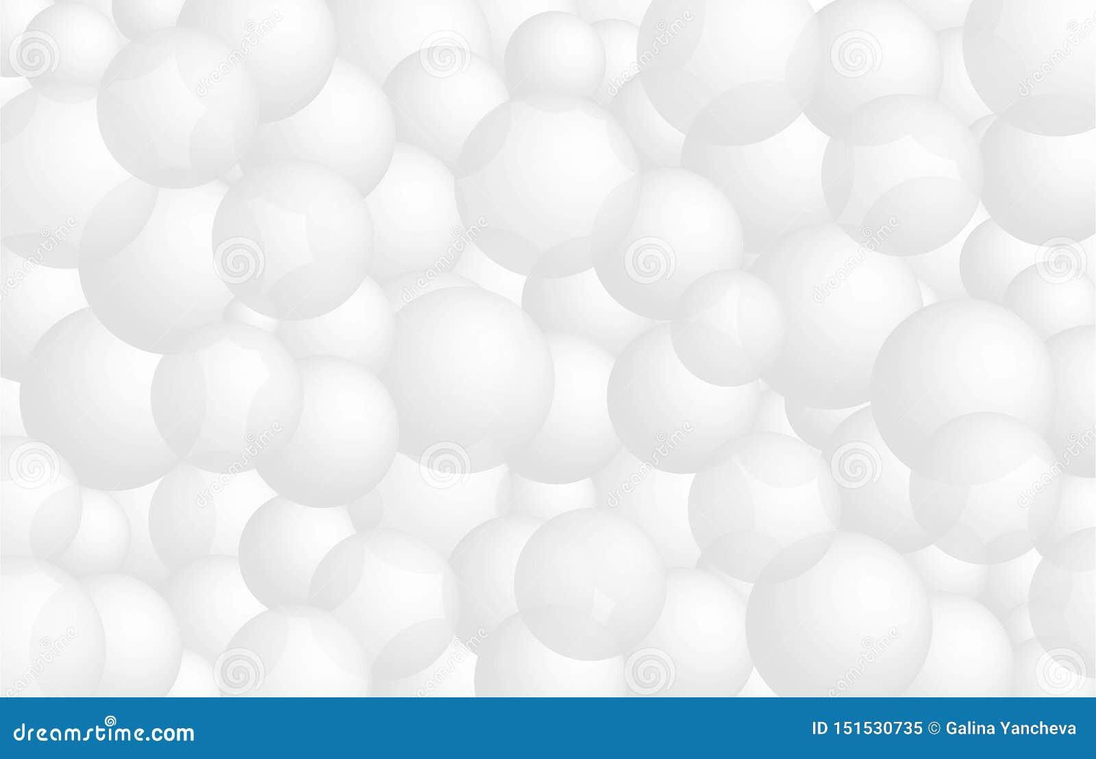Realistiska 3d vita bollar, ballongbakgrund, baner för presentation som landar sidan, webbplats