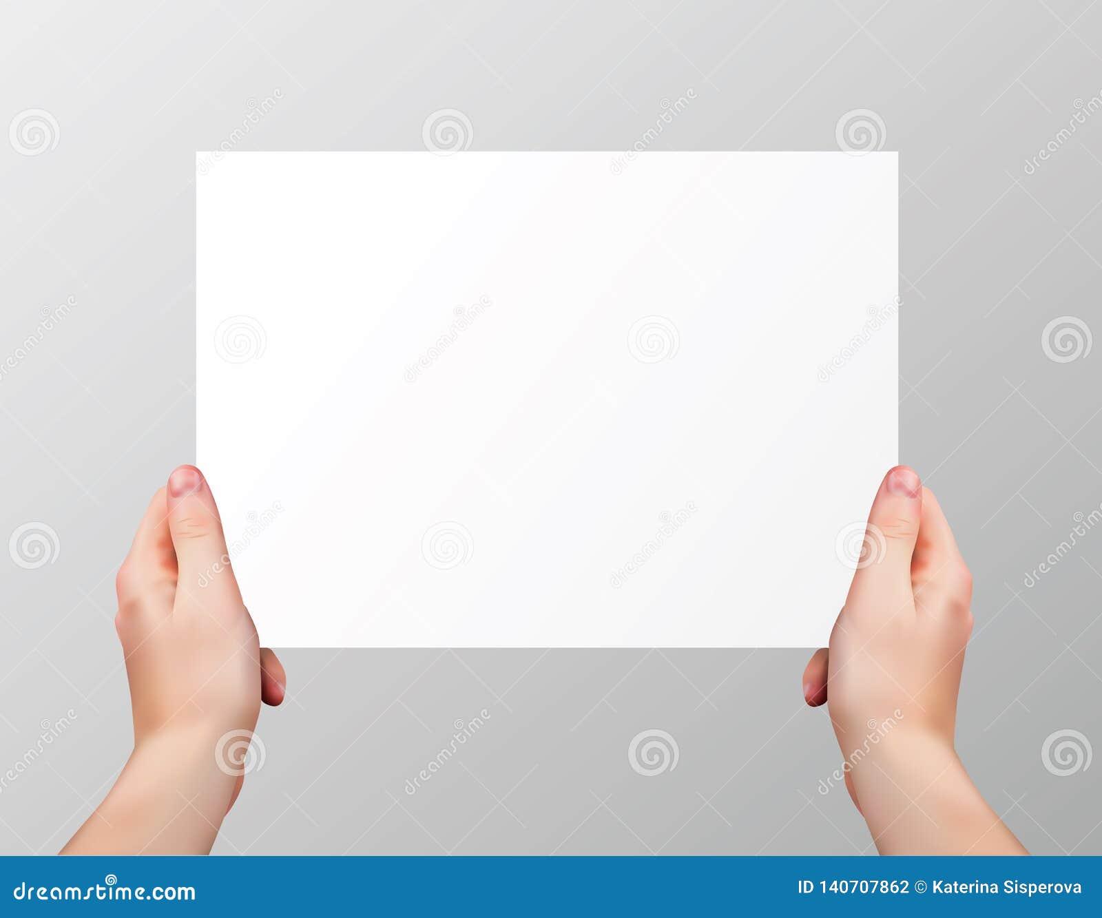 Realistiska händer för vektor som rymmer den tomma horisontalpappers- sidan isolerad på grå bakgrund