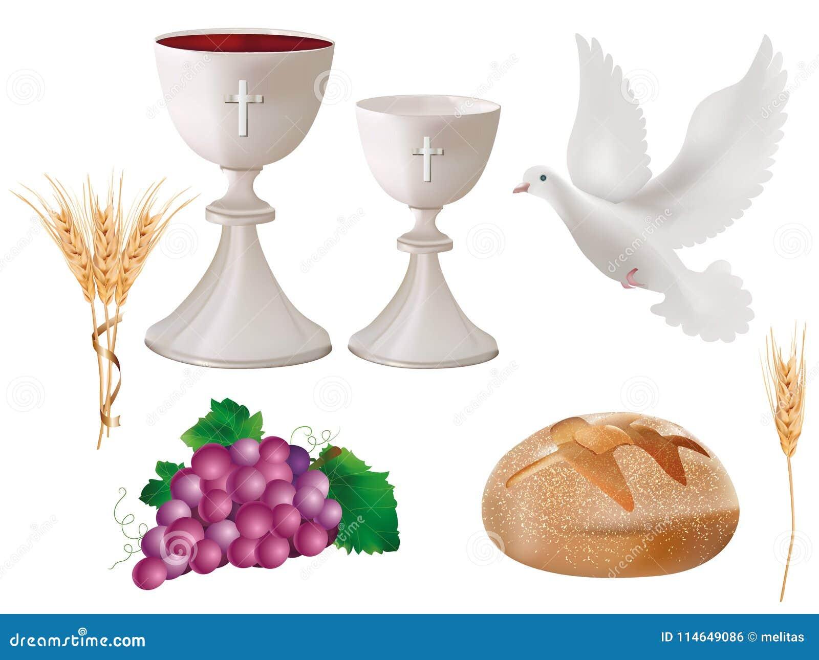 Realistiska isolerade kristna symboler för illustration 3d: vit bägare med vin, duva, druvor, bröd, öra av vete