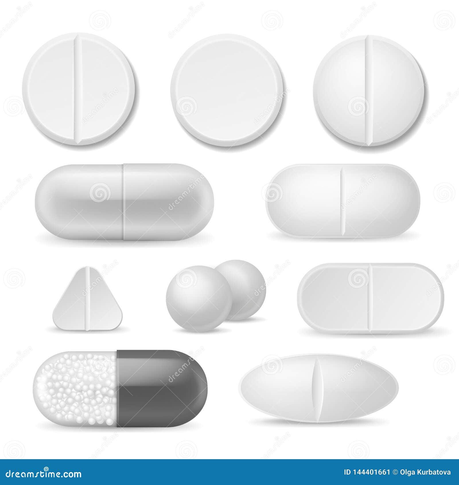Realistiska preventivpillerar Vita medicinminnestavlor Antibiotiska huvudvärkstablettsmärtstillande medeldroger, böjelse för tera