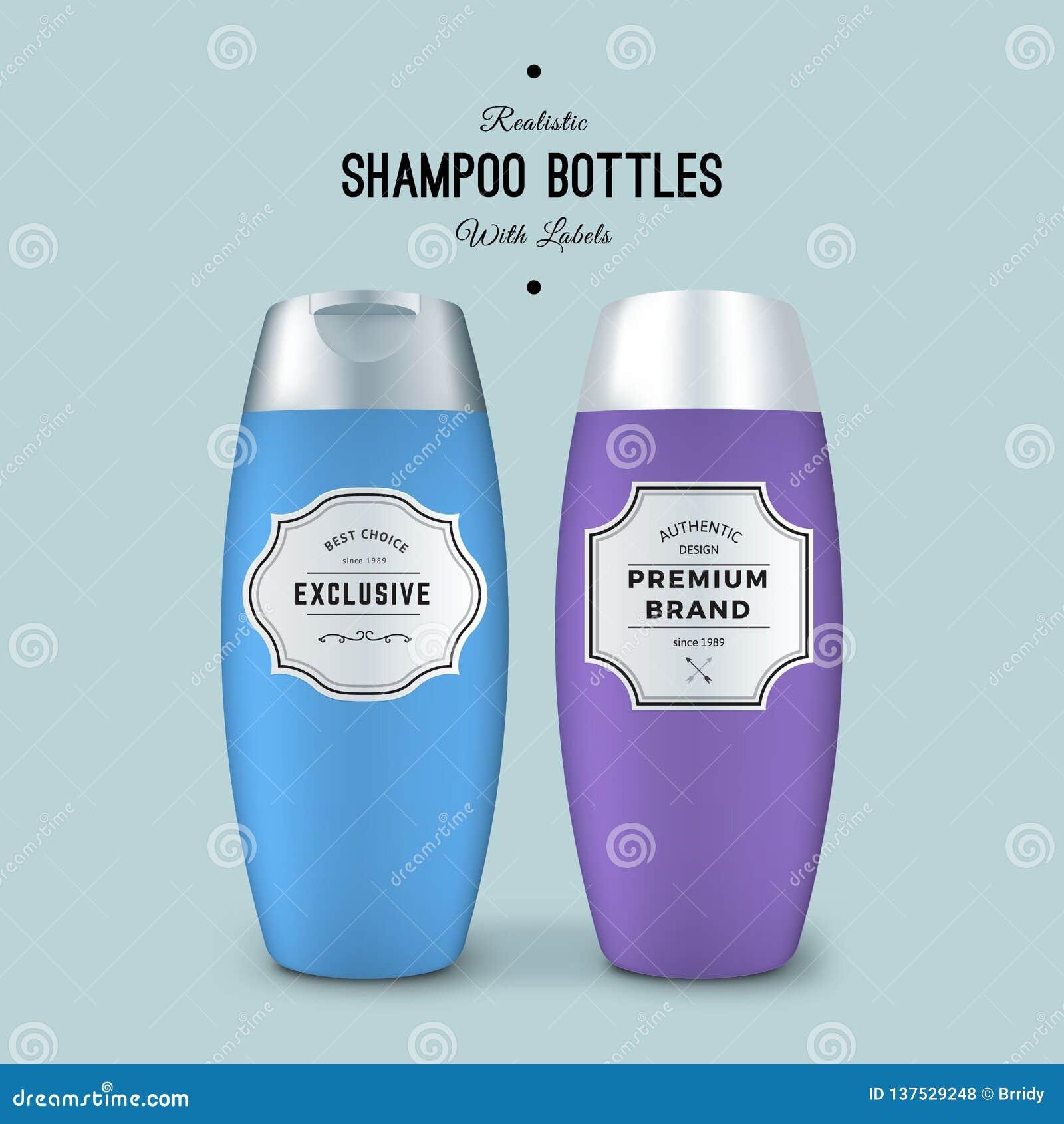 Realistiska schampoflaskor med etiketter Vektormallpacke Förpackande design för produkt Åtlöje för plast- behållare upp