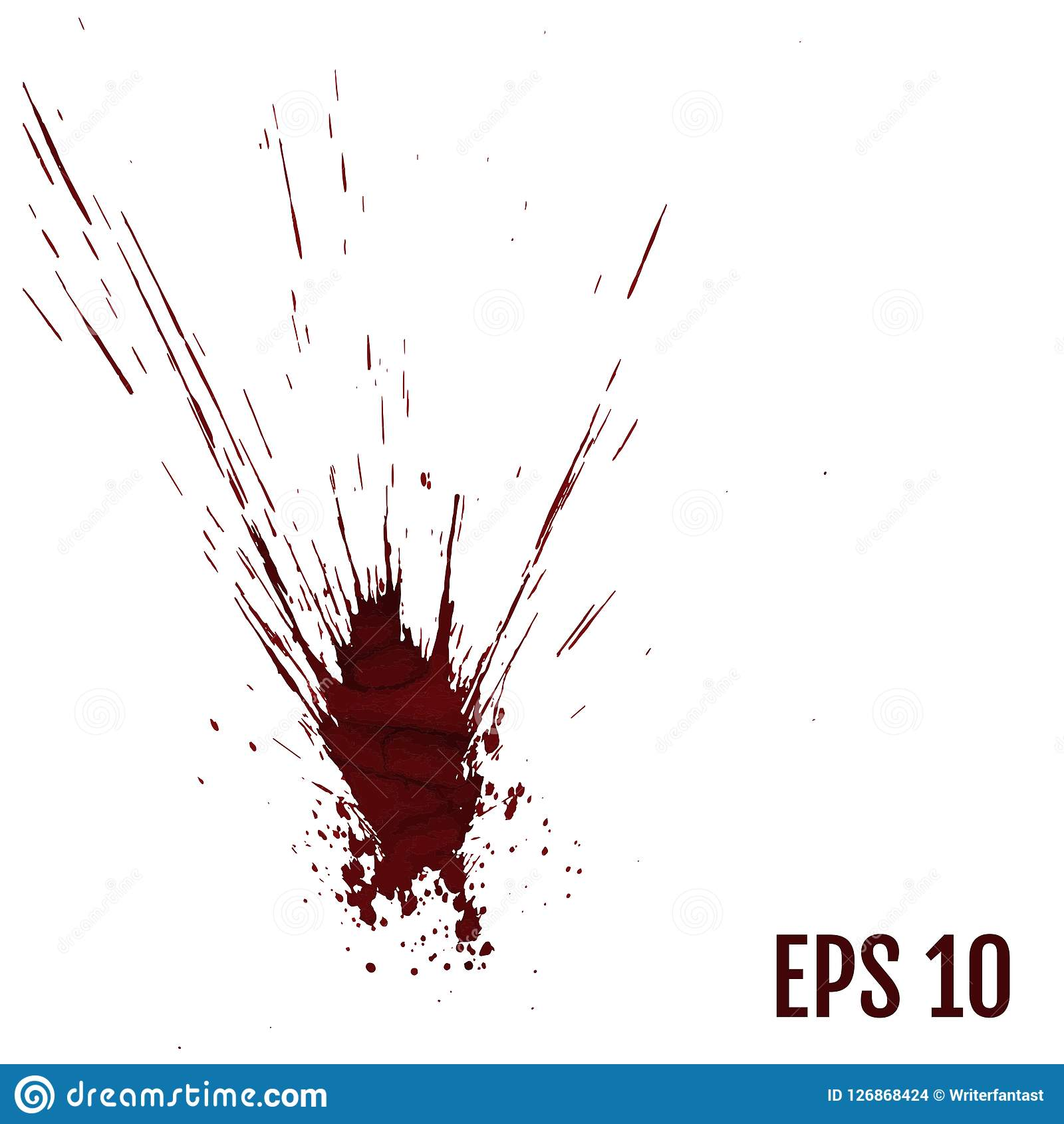 Realistiskt blod plaskar, plaskar flytande, fläckfärgpulver, fläcken och bl