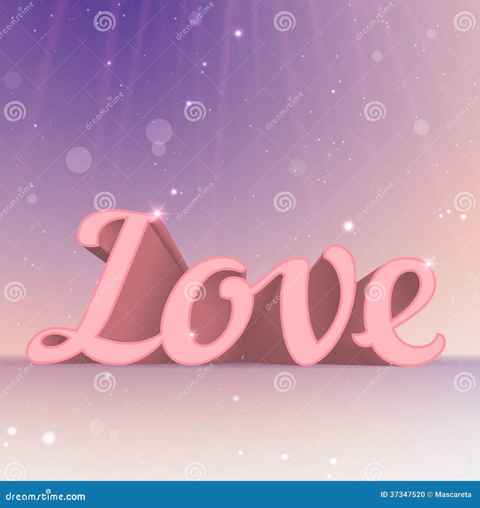 Realistiskt förälskelsetecken för rosa färger 3d. Typografikort
