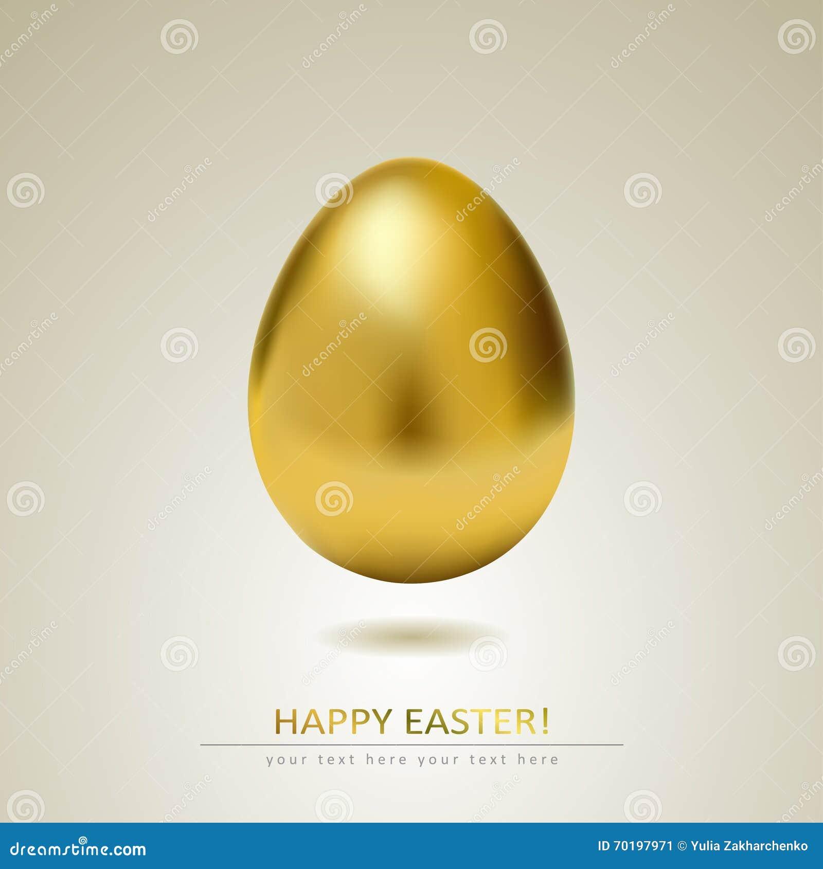 Realistiskt guld- ägg på vit bakgrund