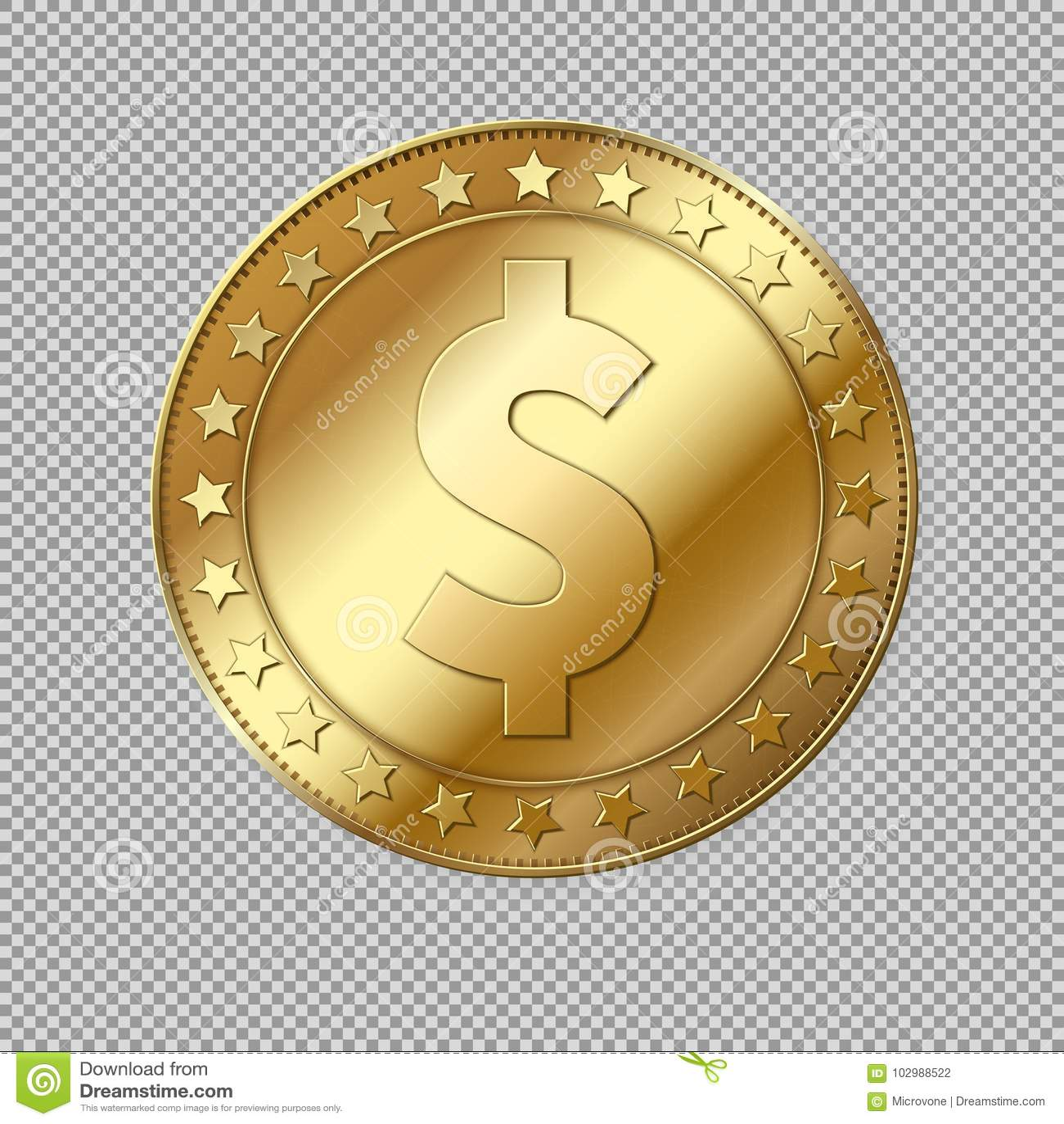 Realistiskt guld- mynt för dollar 3d