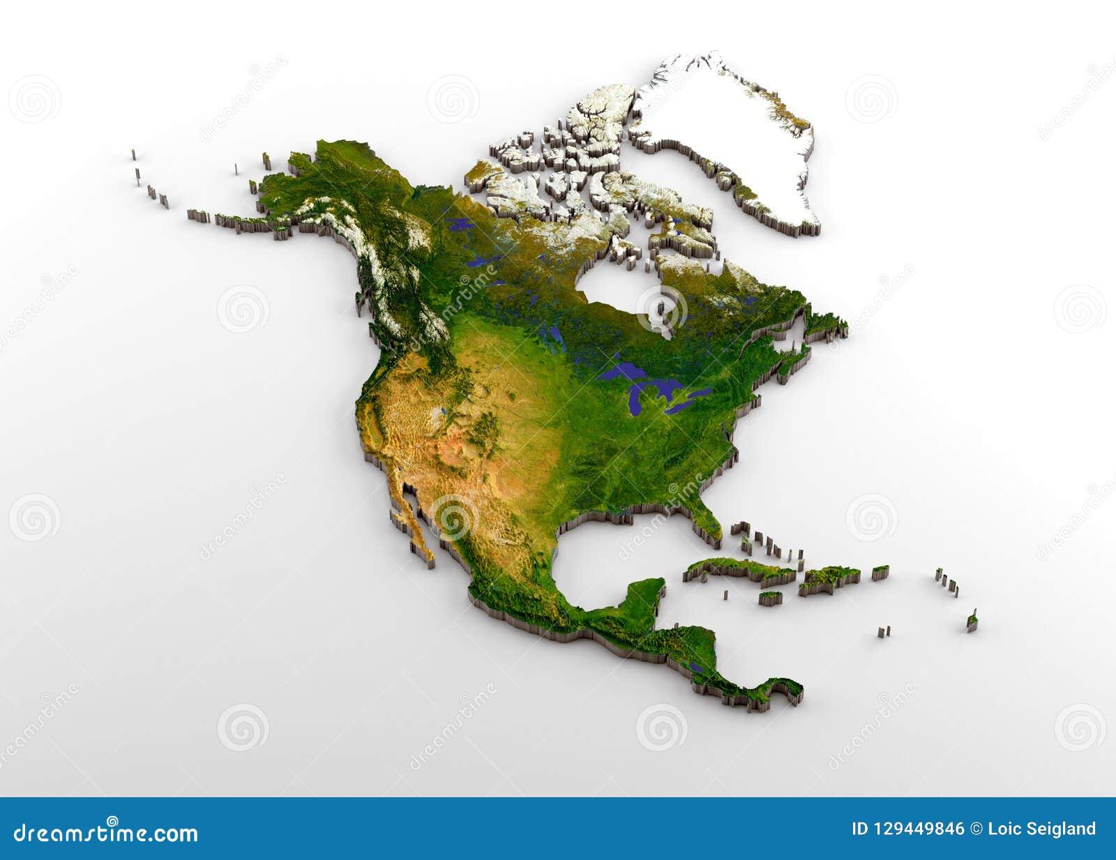 Realistyczna 3D Wyrzucona mapa Północna Ameryka & x28; Północnoamerykański kontynent wliczając Środkowego America& x29; , z ulgą