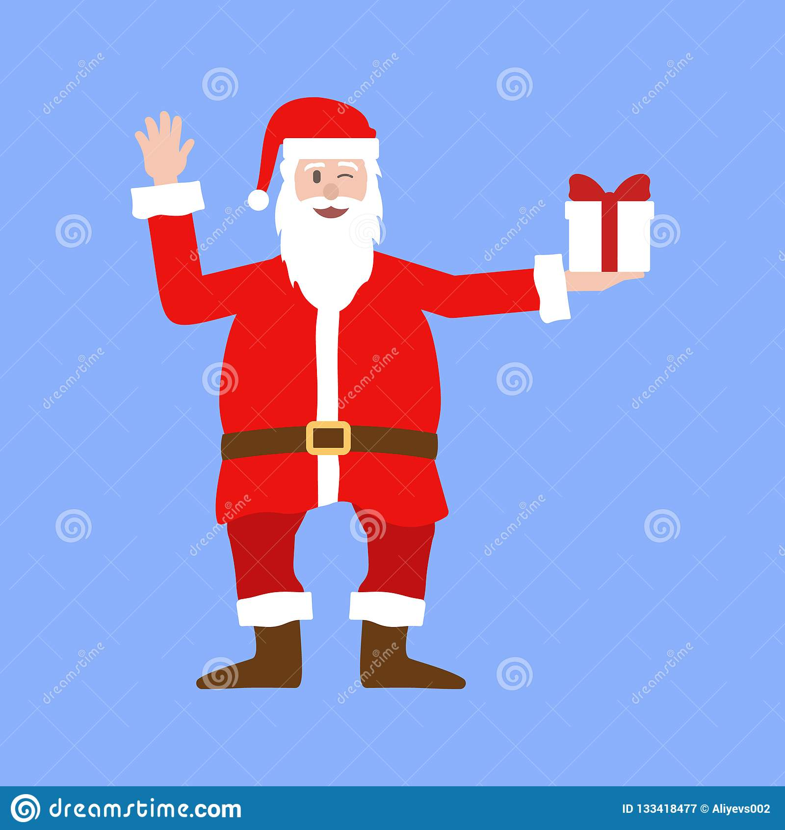 Realistyczna kreskówki ilustracja trzyma zawijającego Bożenarodzeniowego prezent Święty Mikołaj