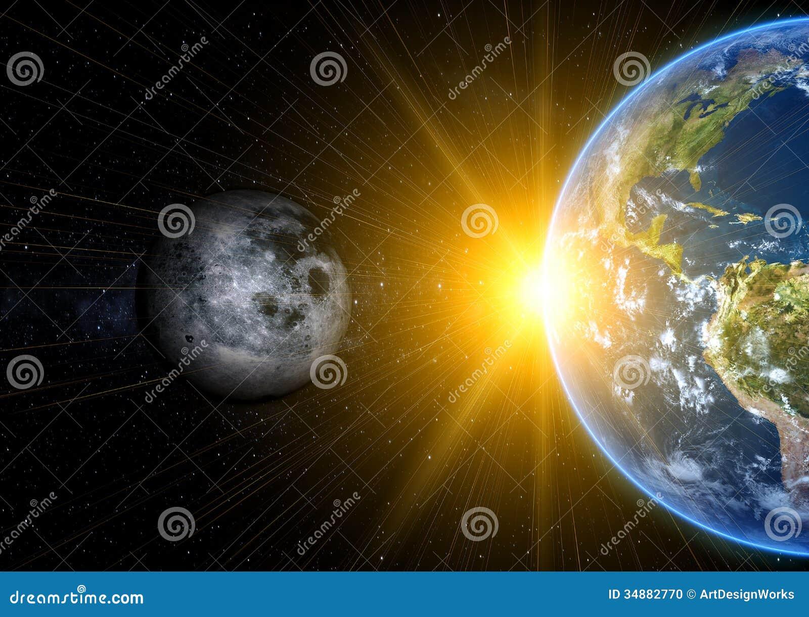 Realistyczna księżyc i ziemia