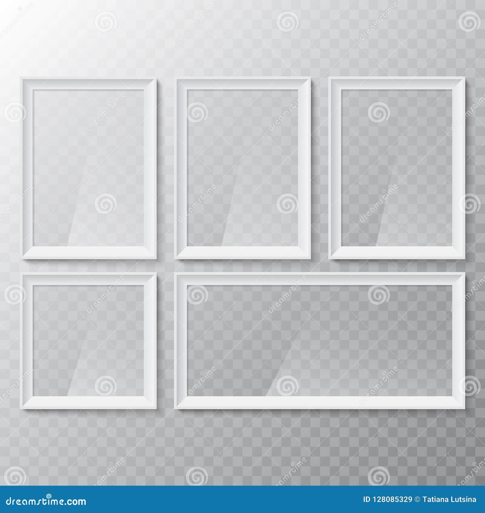 Realistyczna pusta obrazka lub fotografii rama Wektorowy szklany biały photoframe dla wewnętrznego grafika projekta