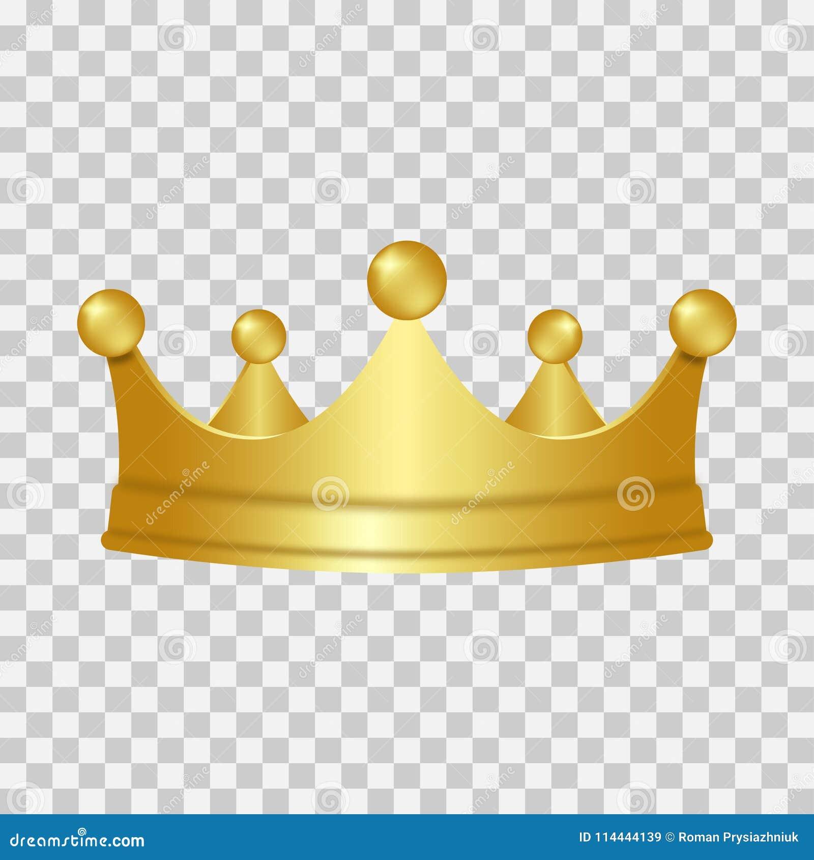 Realistyczna złocista korona 3D złota korona odizolowywająca na przejrzystym tle wektor