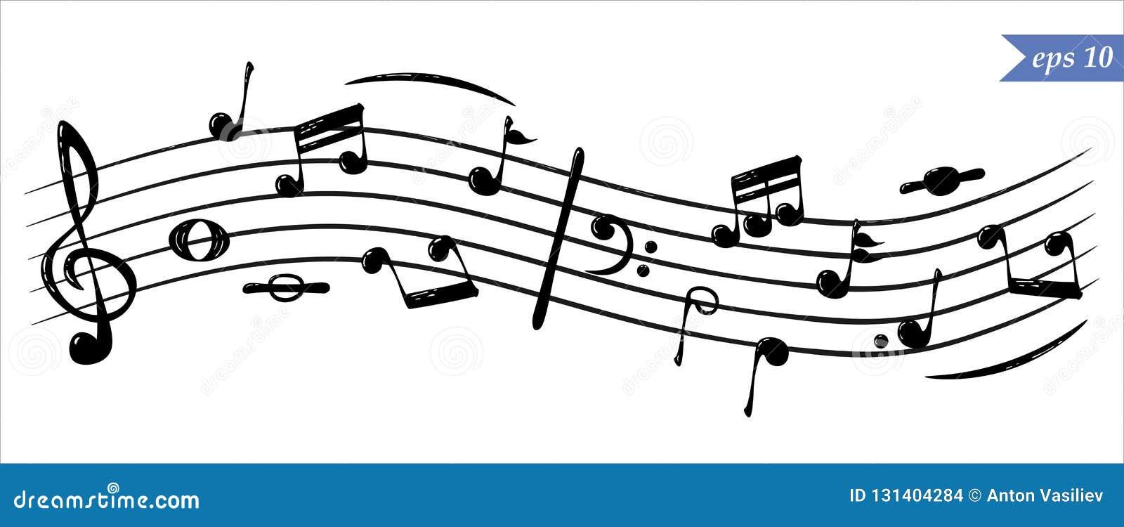Realistyczne bieżące muzykalne notatki, wektor
