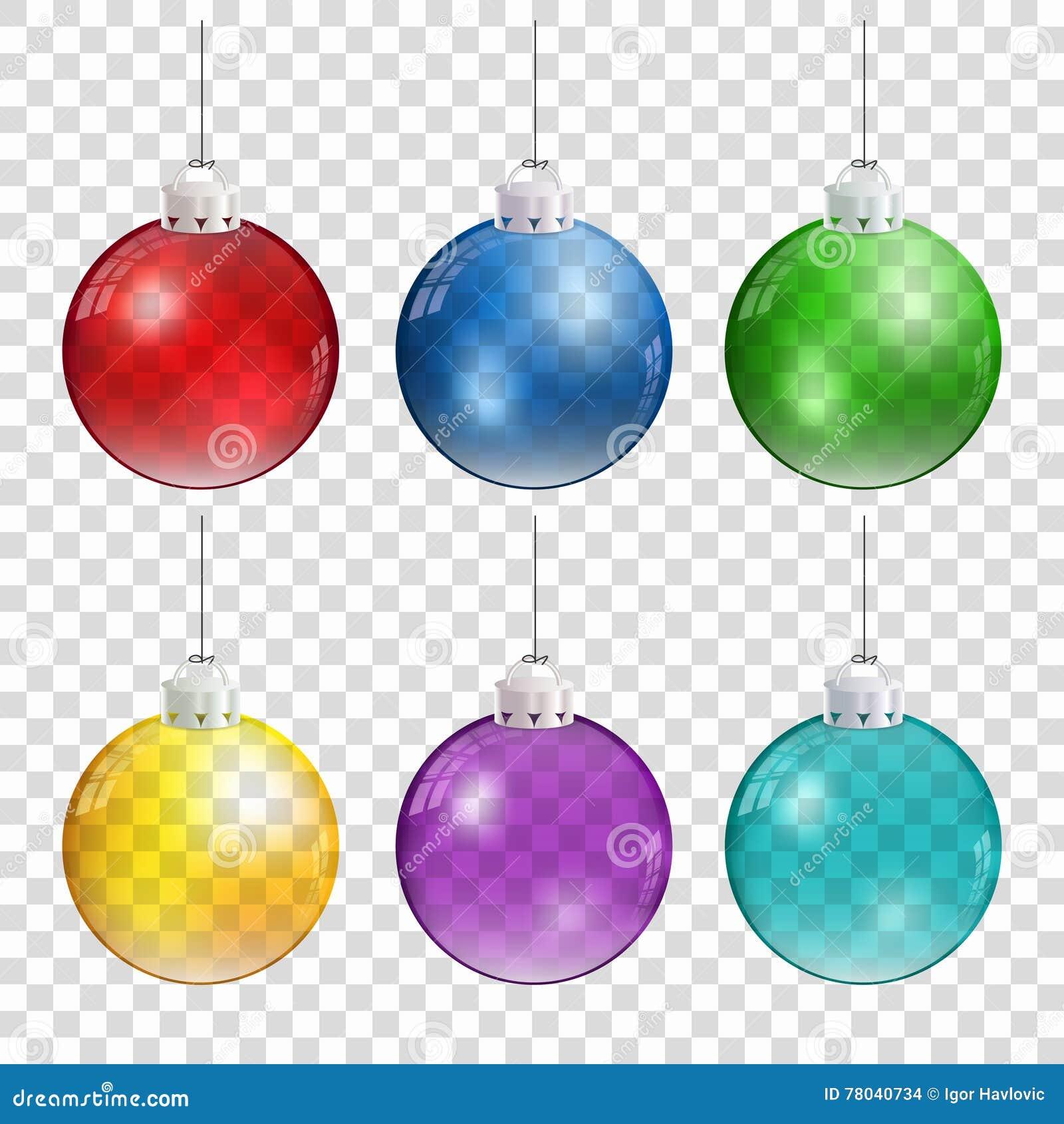 Realistyczne Bożenarodzeniowe piłki w różnych kolorach wiesza na przejrzystym tle