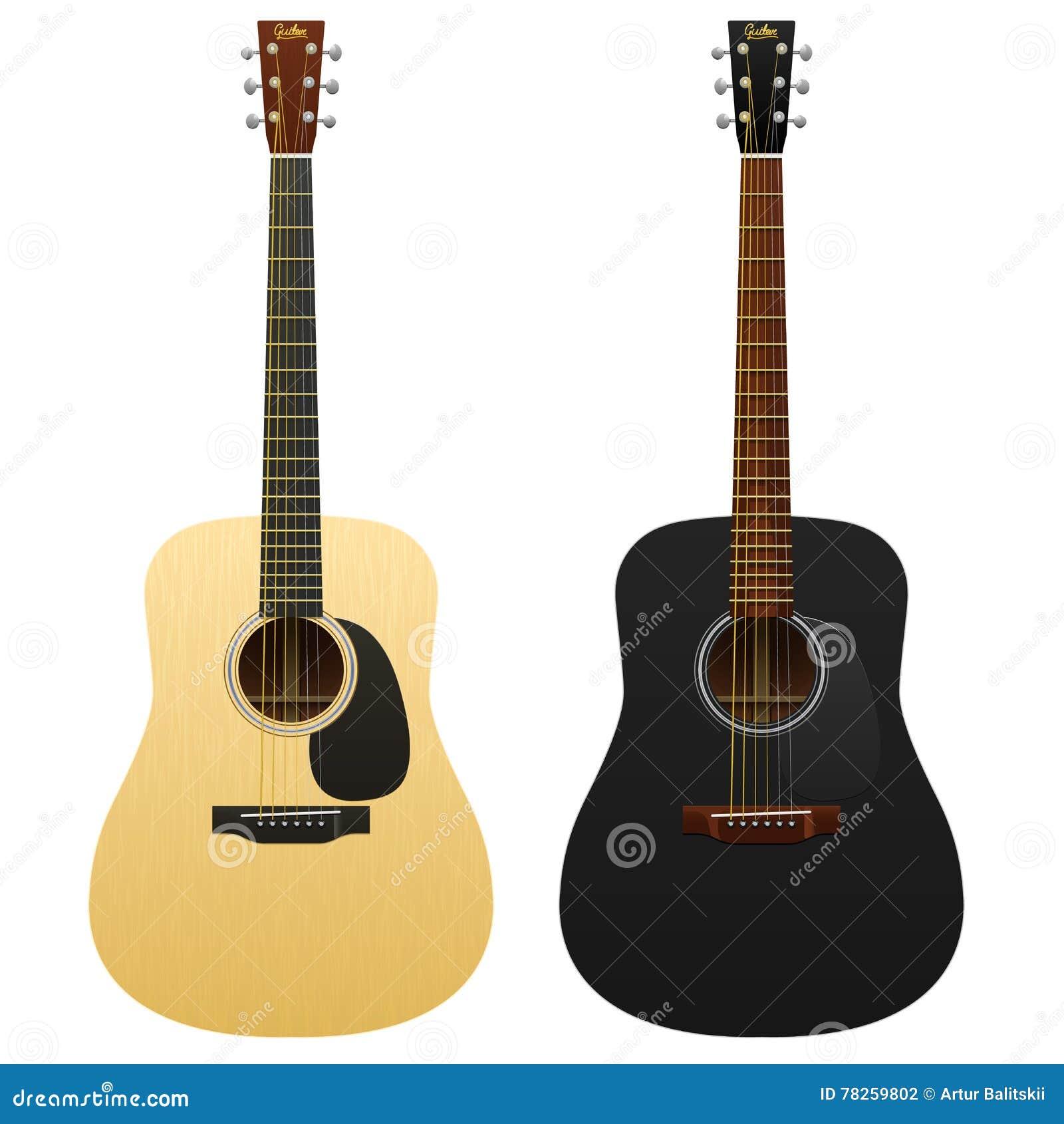 Realistyczne gitary akustyczne odizolowywali dwa zachodniego klasycznego instrumentu muzycznego gitara, klasyk