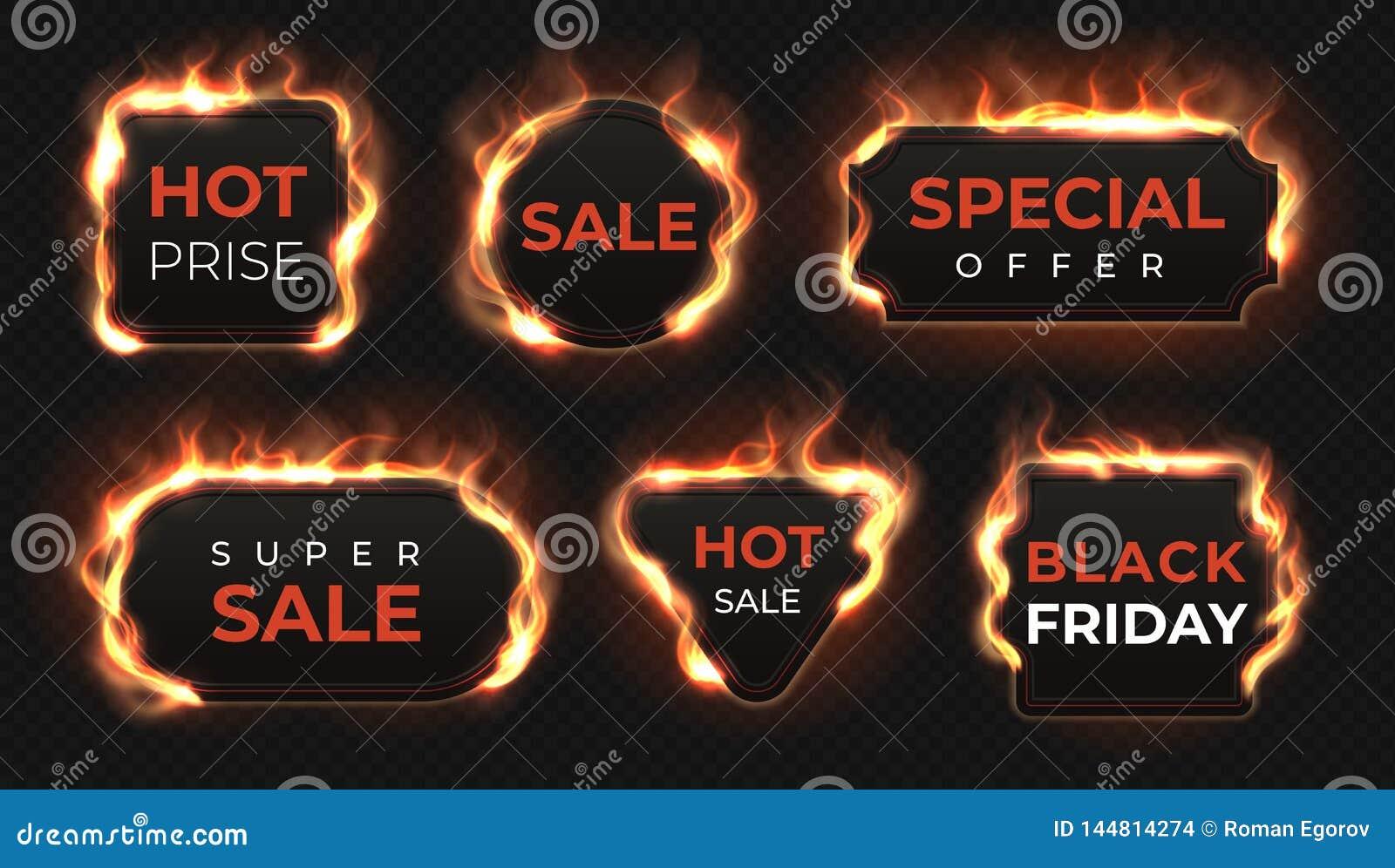 Realistyczne ogień etykietki Gorący transakcji i sprzedaży oferty teksta sztandary z błyszczącym płomienia skutkiem, odosob