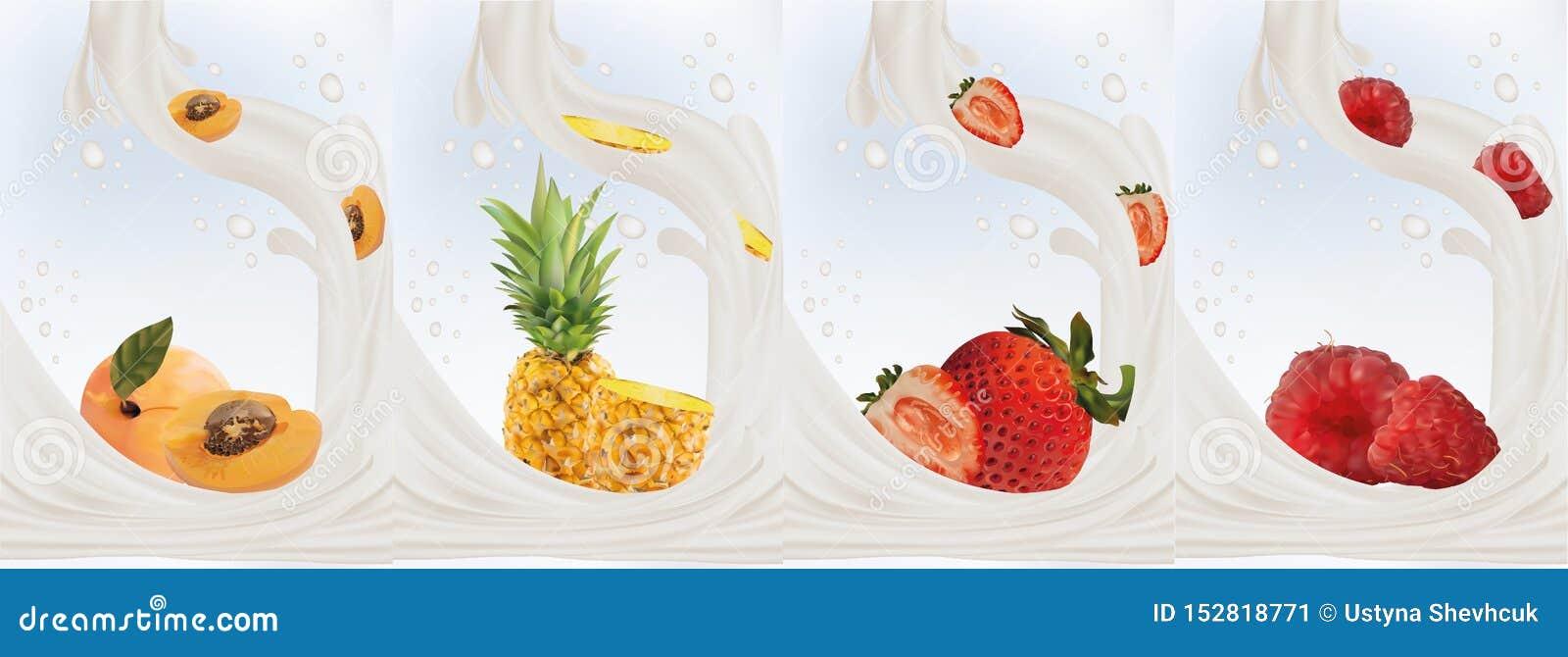 Realistyczne owoc truskawki, morela, ananas, malinka z dojnymi pluśnięciami zamykają w górę 3d ilustracja wektor Ustalony mleko