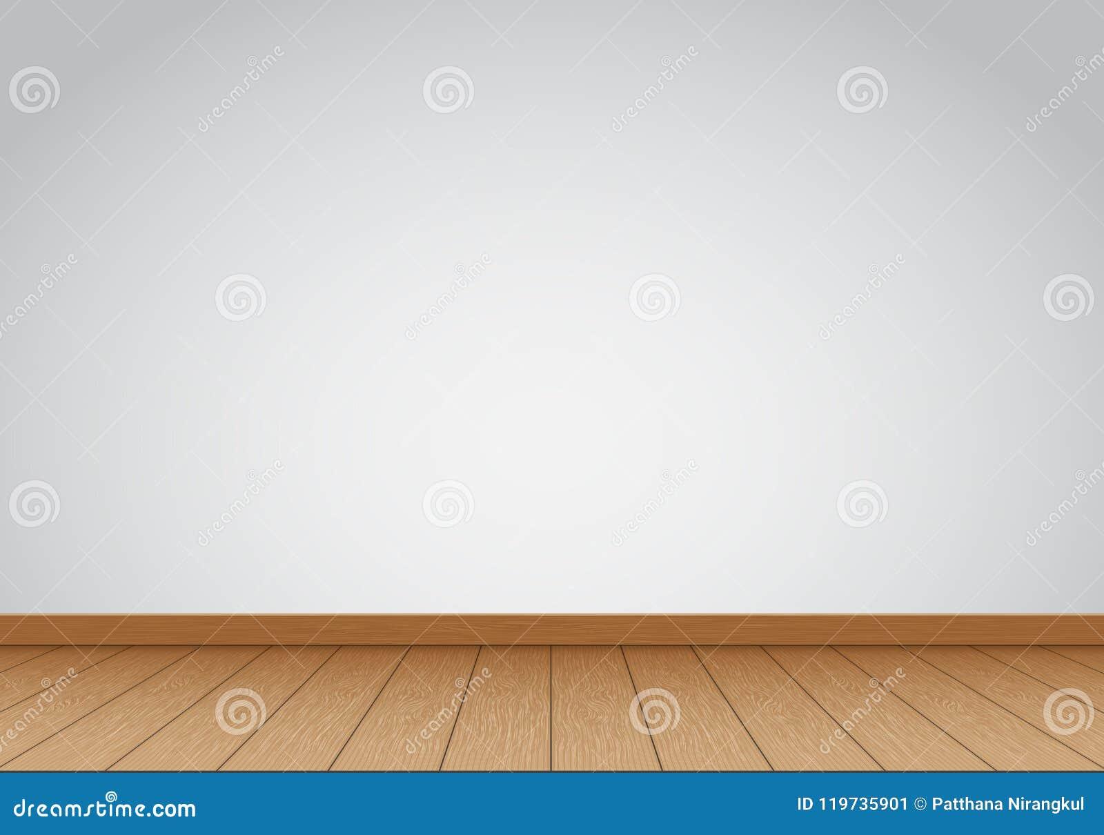 Realistyczne szarość izolują puste miejsce z brown drewnianym podłogowym wewnętrznym tło wektorem