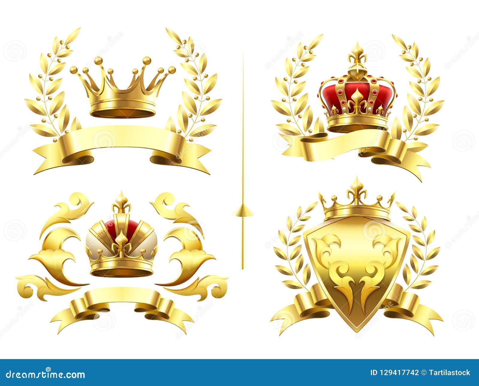 Realistyczni heraldyczni emblematy Insygnia z złotą koroną, złocistym koronuje medalem i emblematem z królewskimi koronami na osł